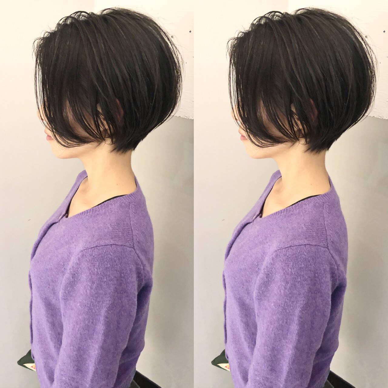 切りっぱなしボブ ショートボブ ミニボブ ナチュラルヘアスタイルや髪型の写真・画像