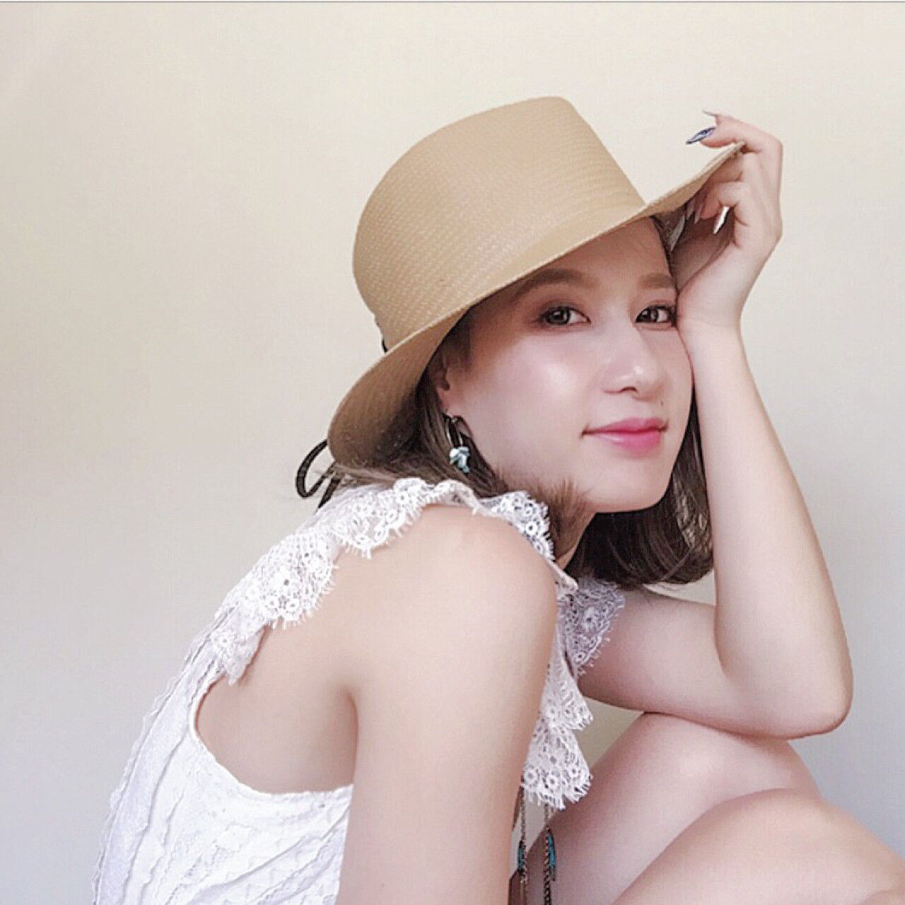 夏 涼しげ フェミニン ボブヘアスタイルや髪型の写真・画像