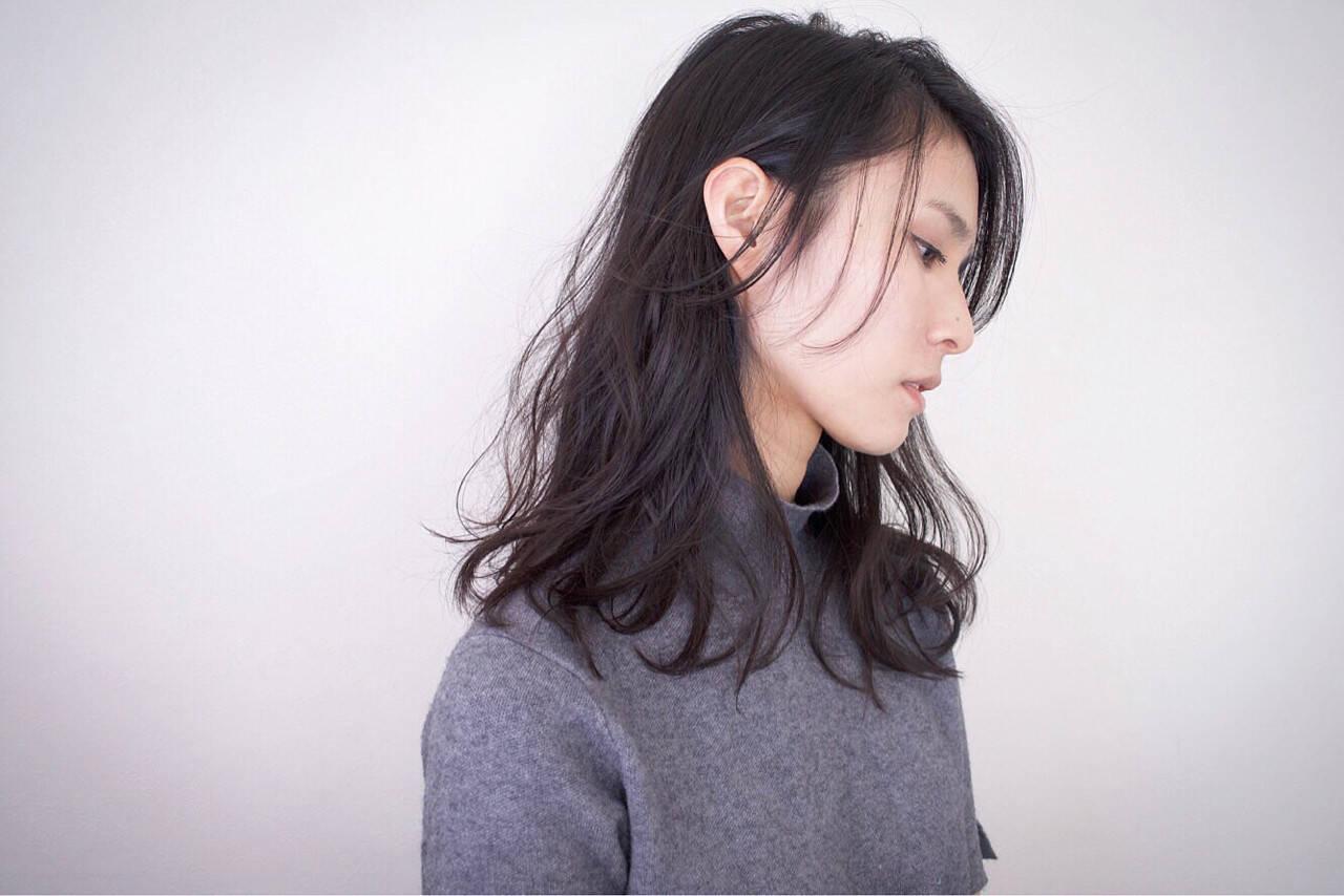 ゆるふわ セミロング 簡単 パーマヘアスタイルや髪型の写真・画像