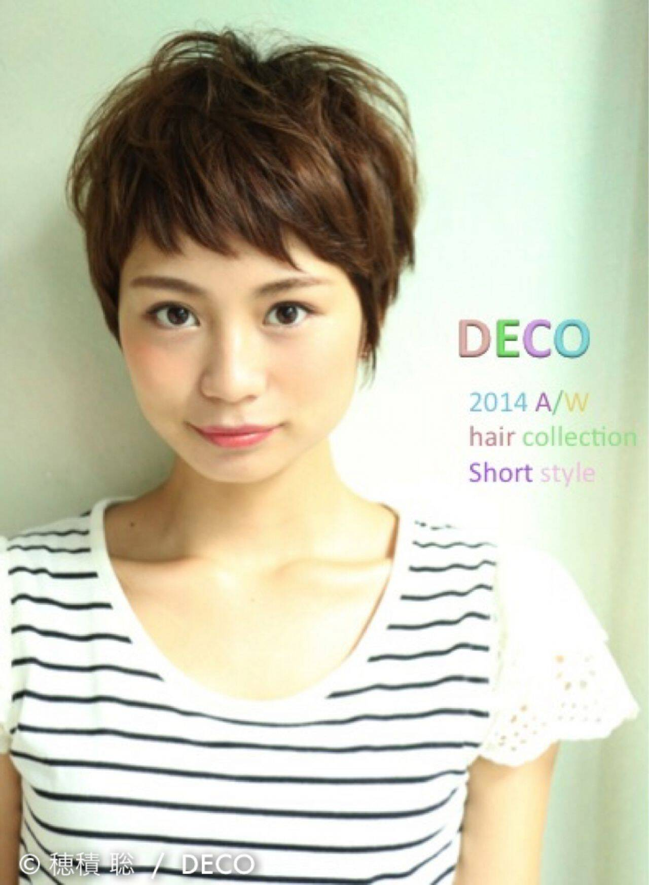 ショート ストレート 小顔 ナチュラルヘアスタイルや髪型の写真・画像