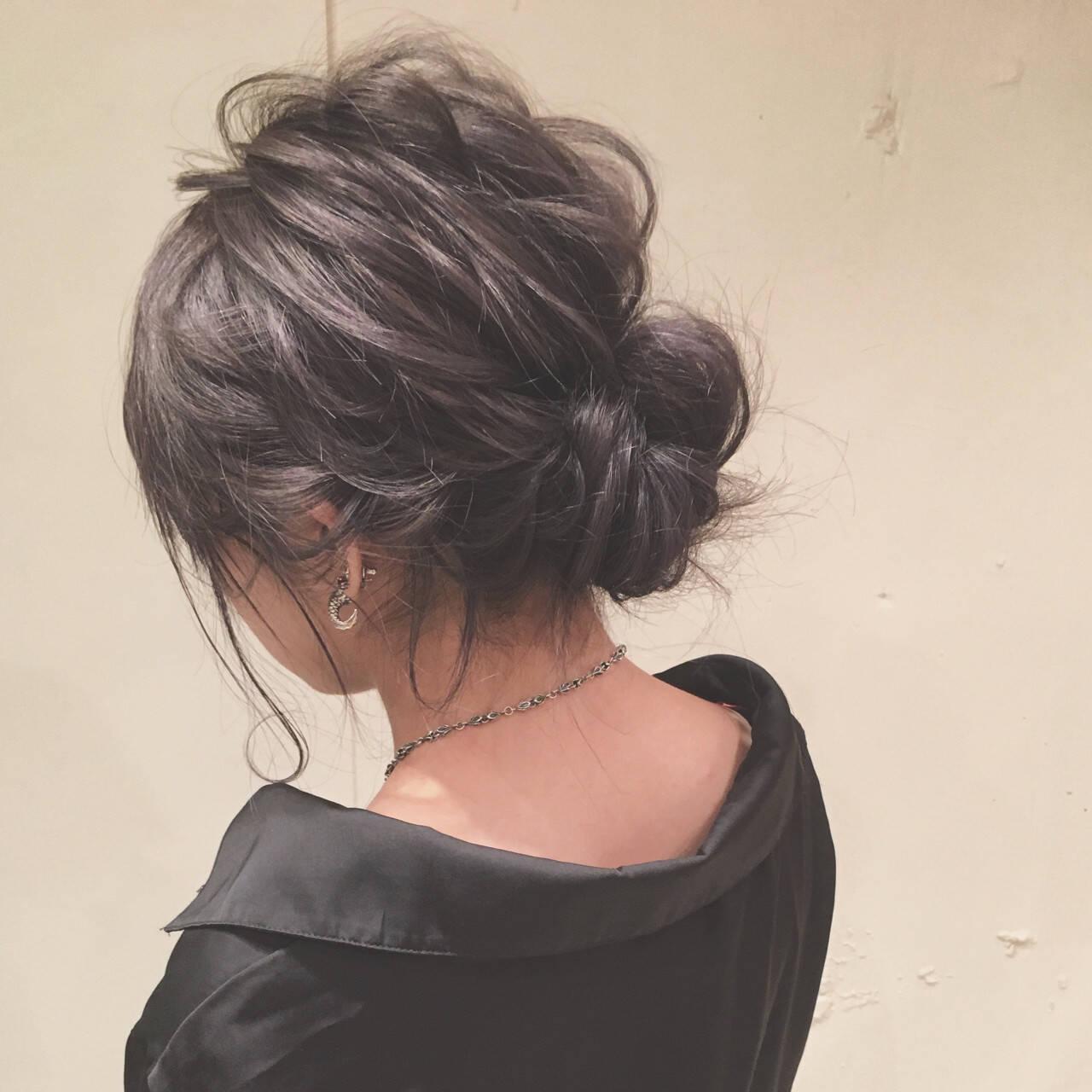 ヘアアレンジ シニヨン ロング 女子会ヘアスタイルや髪型の写真・画像