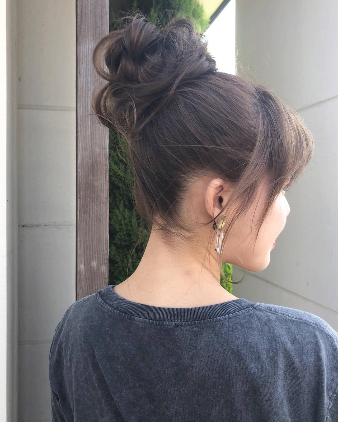 簡単ヘアアレンジ セルフヘアアレンジ ロング お団子アレンジヘアスタイルや髪型の写真・画像