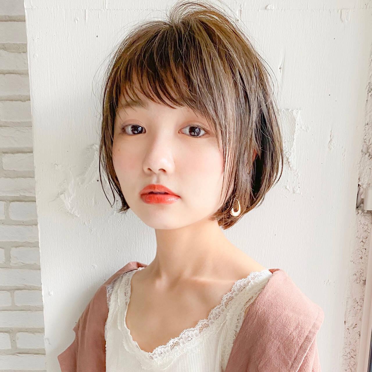 ひし形シルエット ショートボブ ショートヘア 小顔ショートヘアスタイルや髪型の写真・画像
