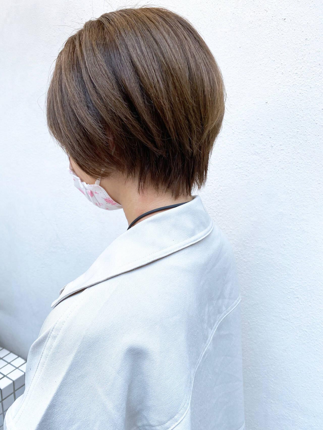 ベリーショート ナチュラル ショートボブ ミニボブヘアスタイルや髪型の写真・画像