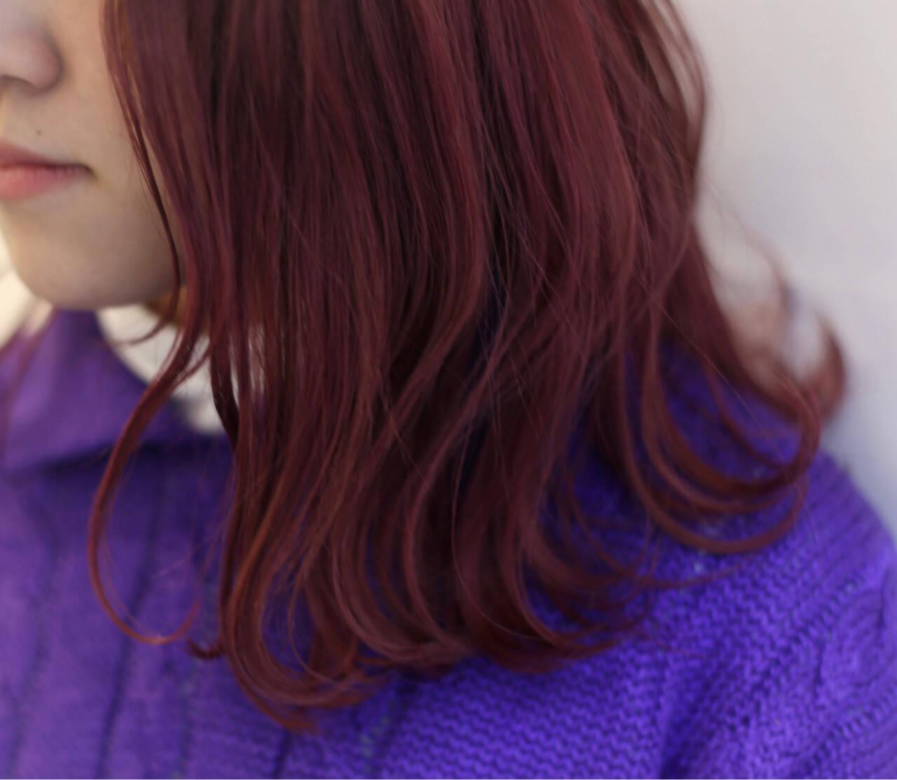波ウェーブ ガーリー ピンク バレンタインヘアスタイルや髪型の写真・画像