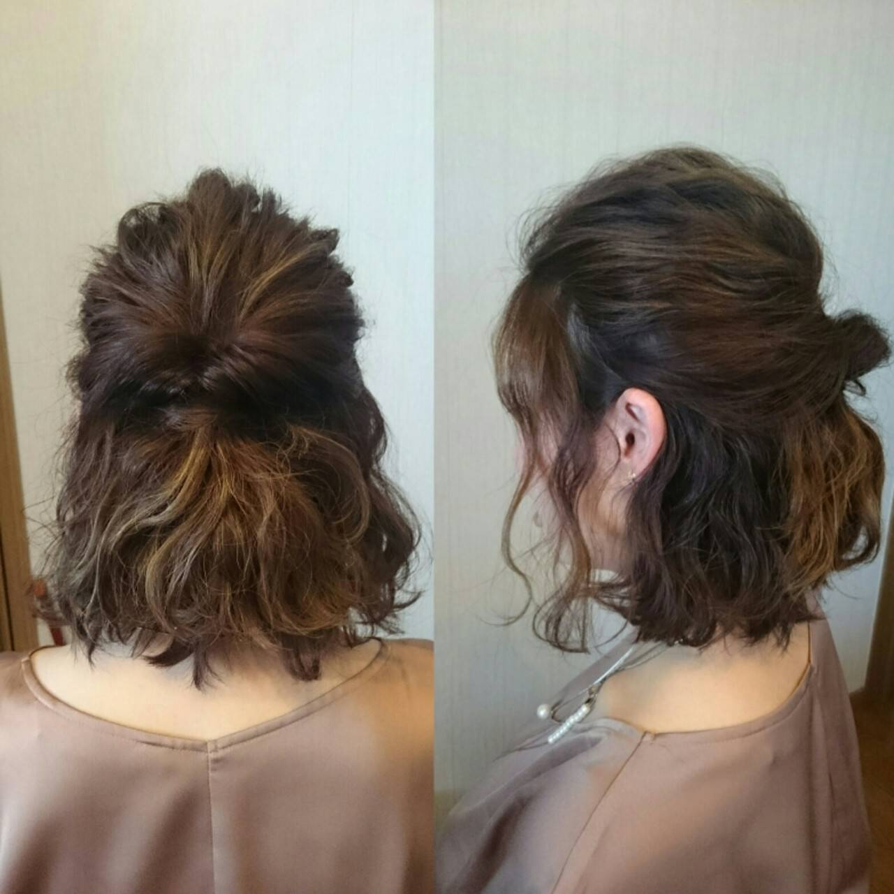 ハーフアップ ボブ ハイライト ショートヘアスタイルや髪型の写真・画像