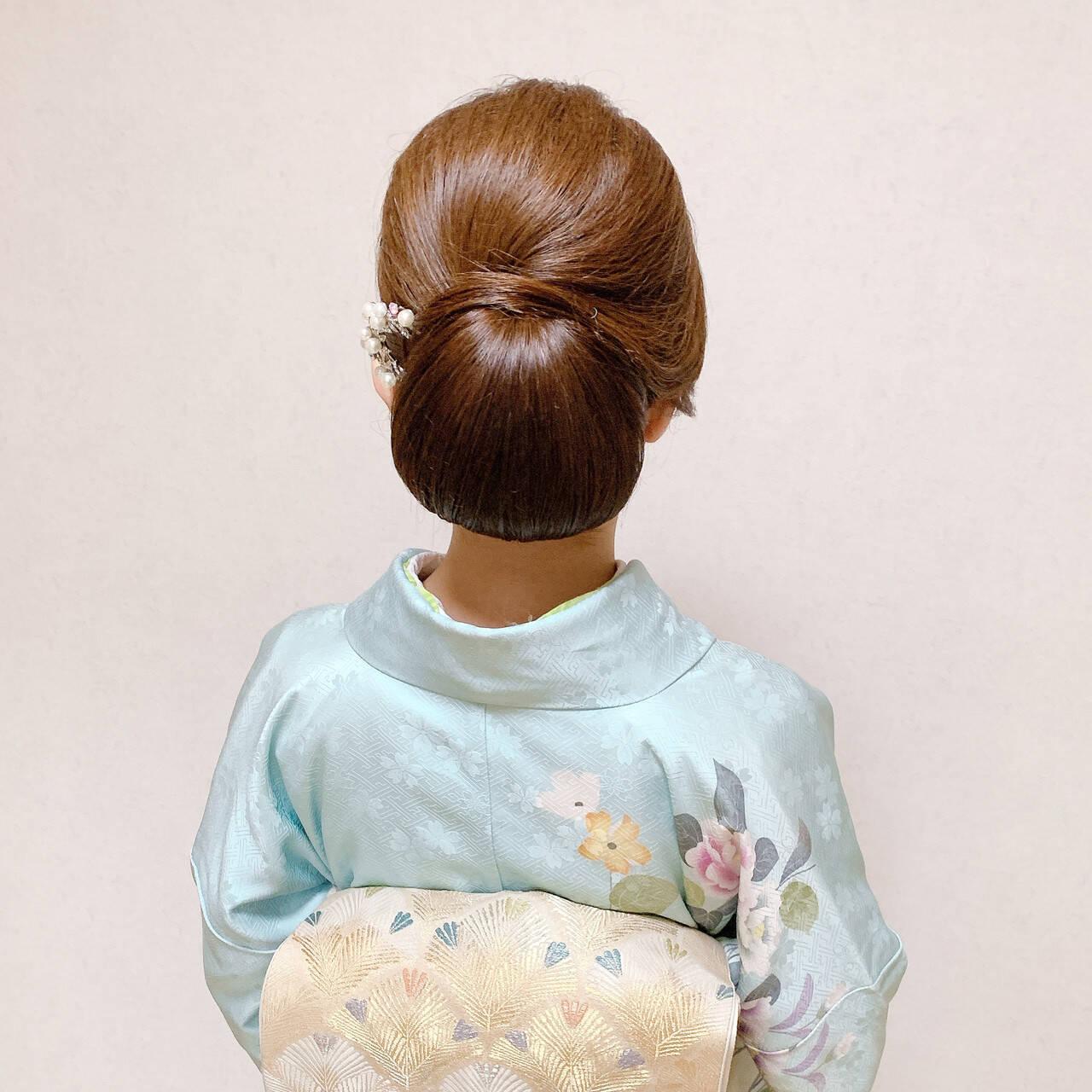 ミディアム 着物 訪問着 結婚式ヘアスタイルや髪型の写真・画像
