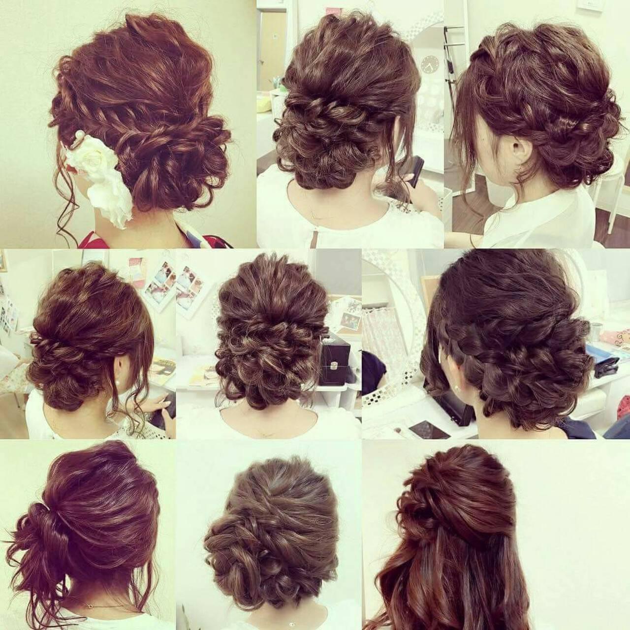 編み込み ロング 結婚式 ヘアアレンジヘアスタイルや髪型の写真・画像