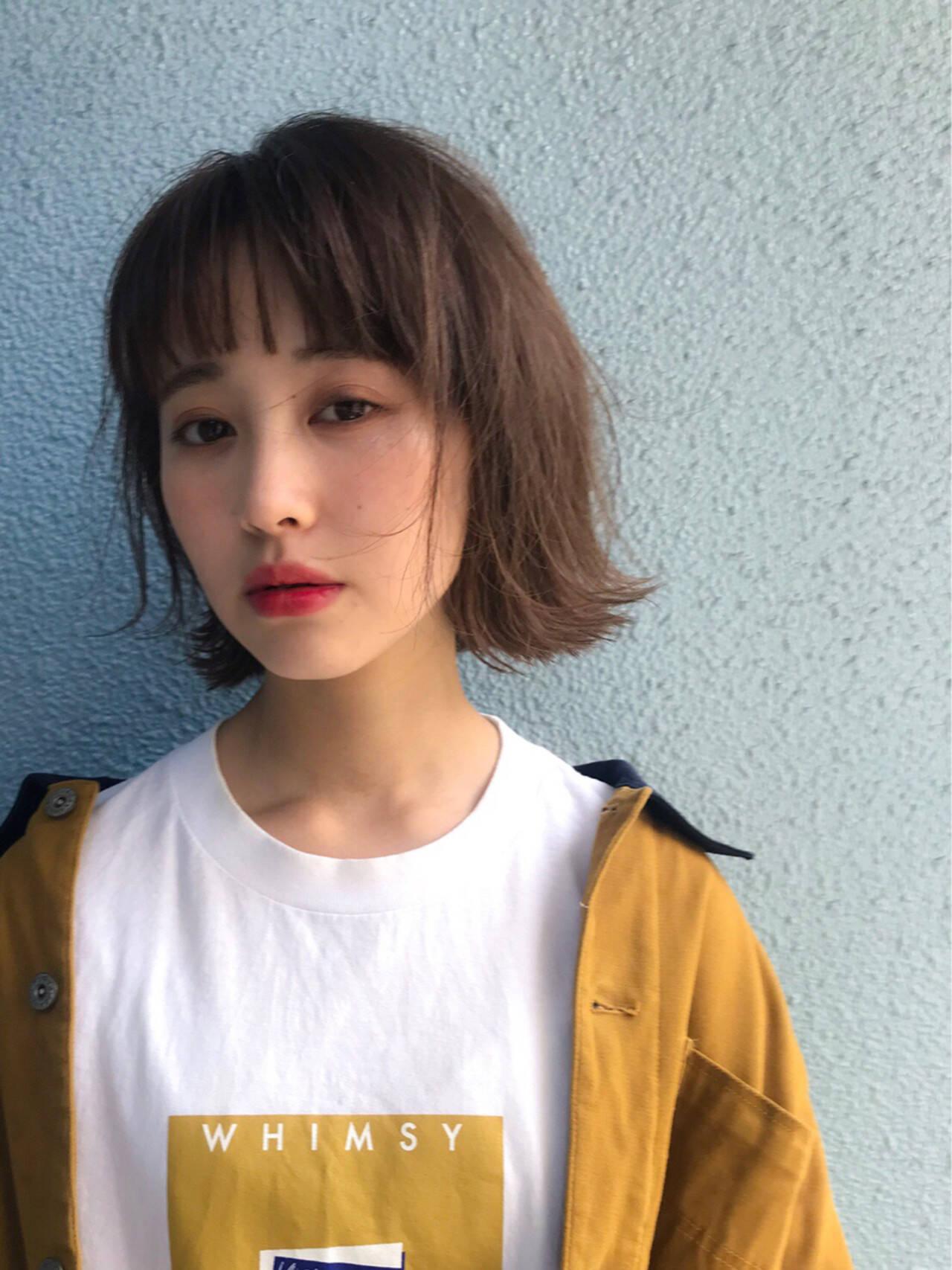 大人女子 無造作 ラフ ボブヘアスタイルや髪型の写真・画像