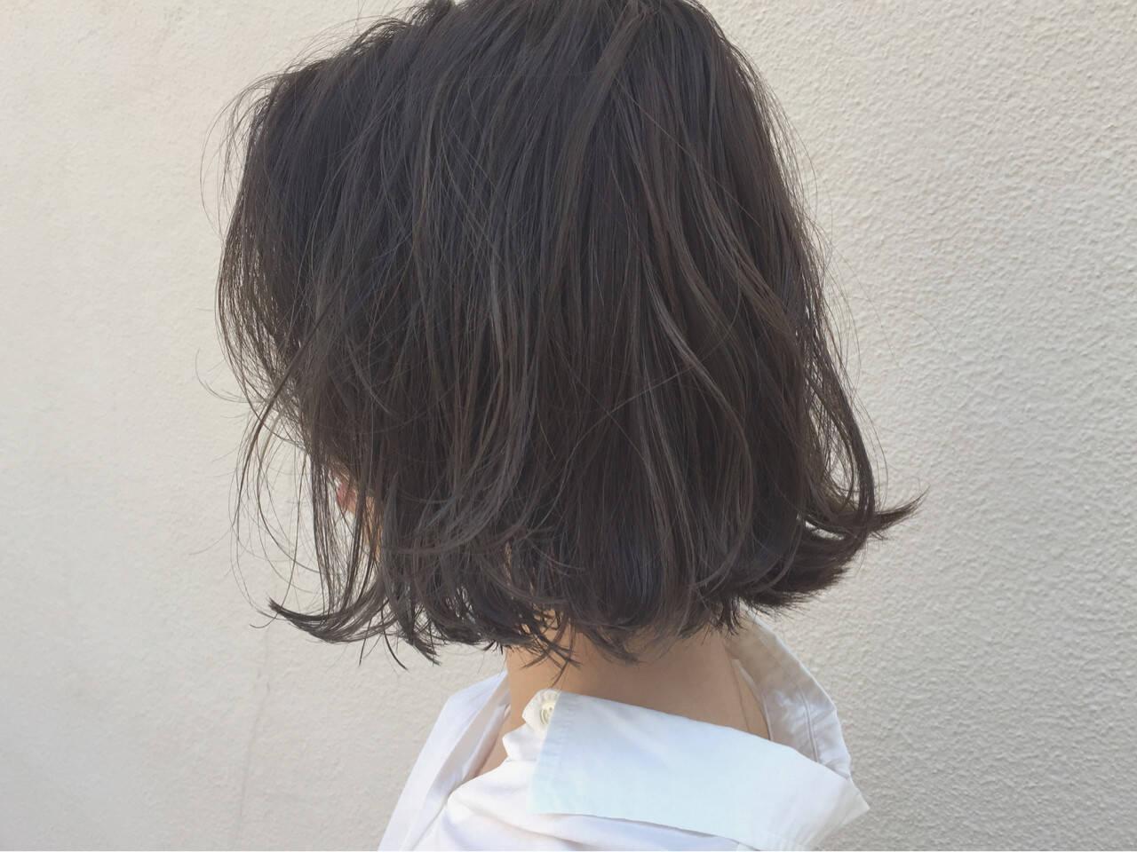 外ハネ 切りっぱなし ボブ 外国人風ヘアスタイルや髪型の写真・画像