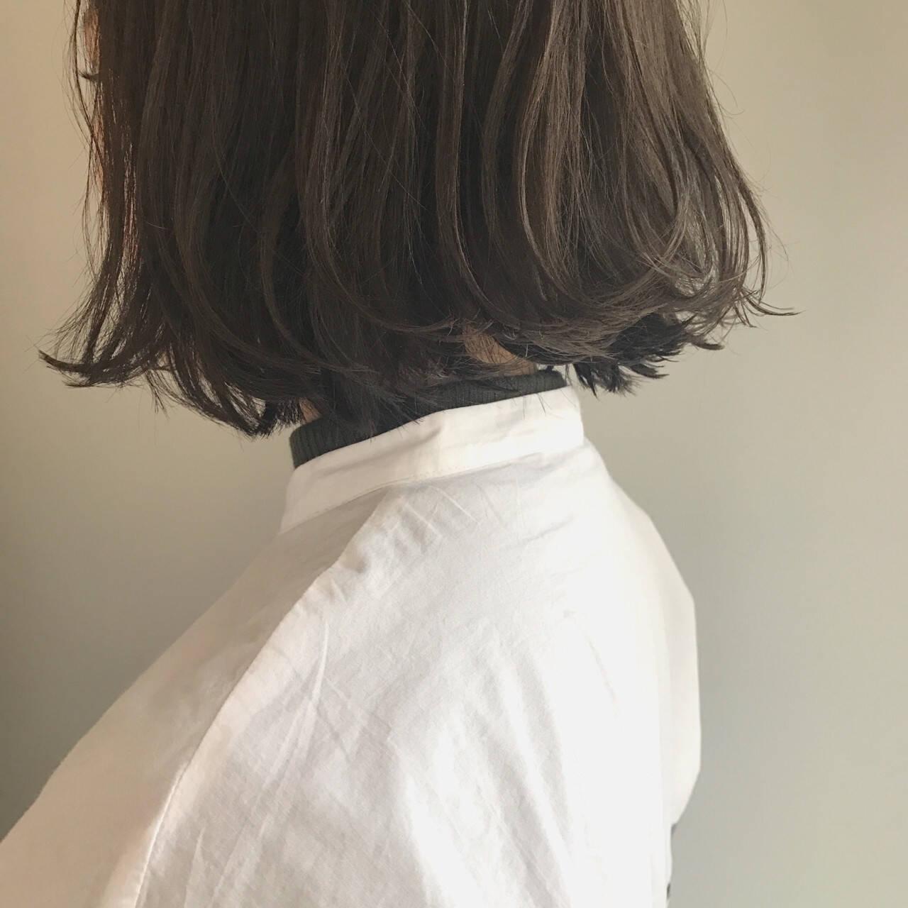 ボブ 透明感 黒髪 アッシュヘアスタイルや髪型の写真・画像