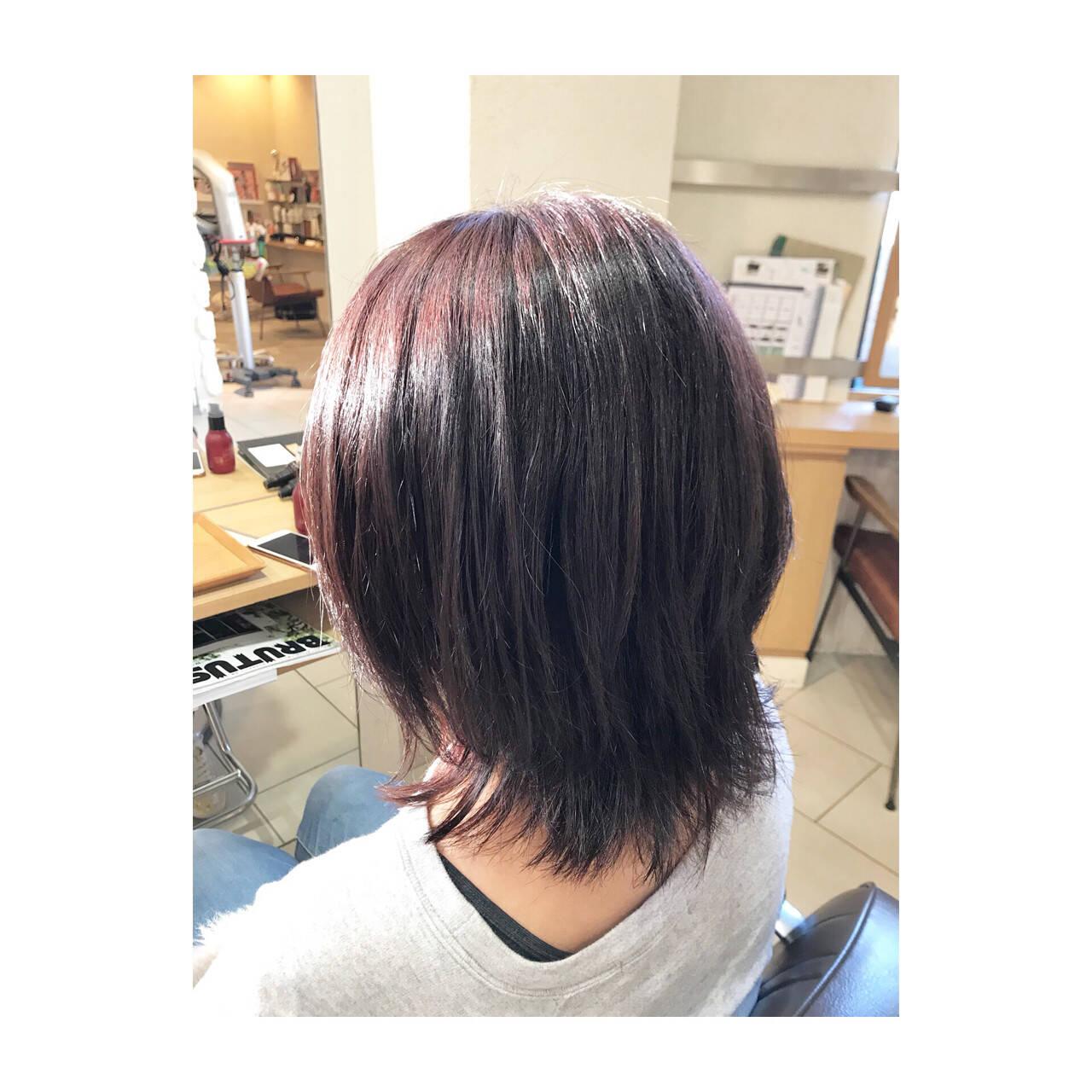 艶髪 ミディアム 秋 フェミニンヘアスタイルや髪型の写真・画像