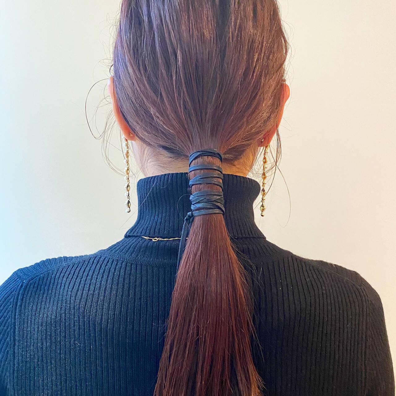 ポニーテールアレンジ ロング ヘアアレンジ セルフヘアアレンジヘアスタイルや髪型の写真・画像