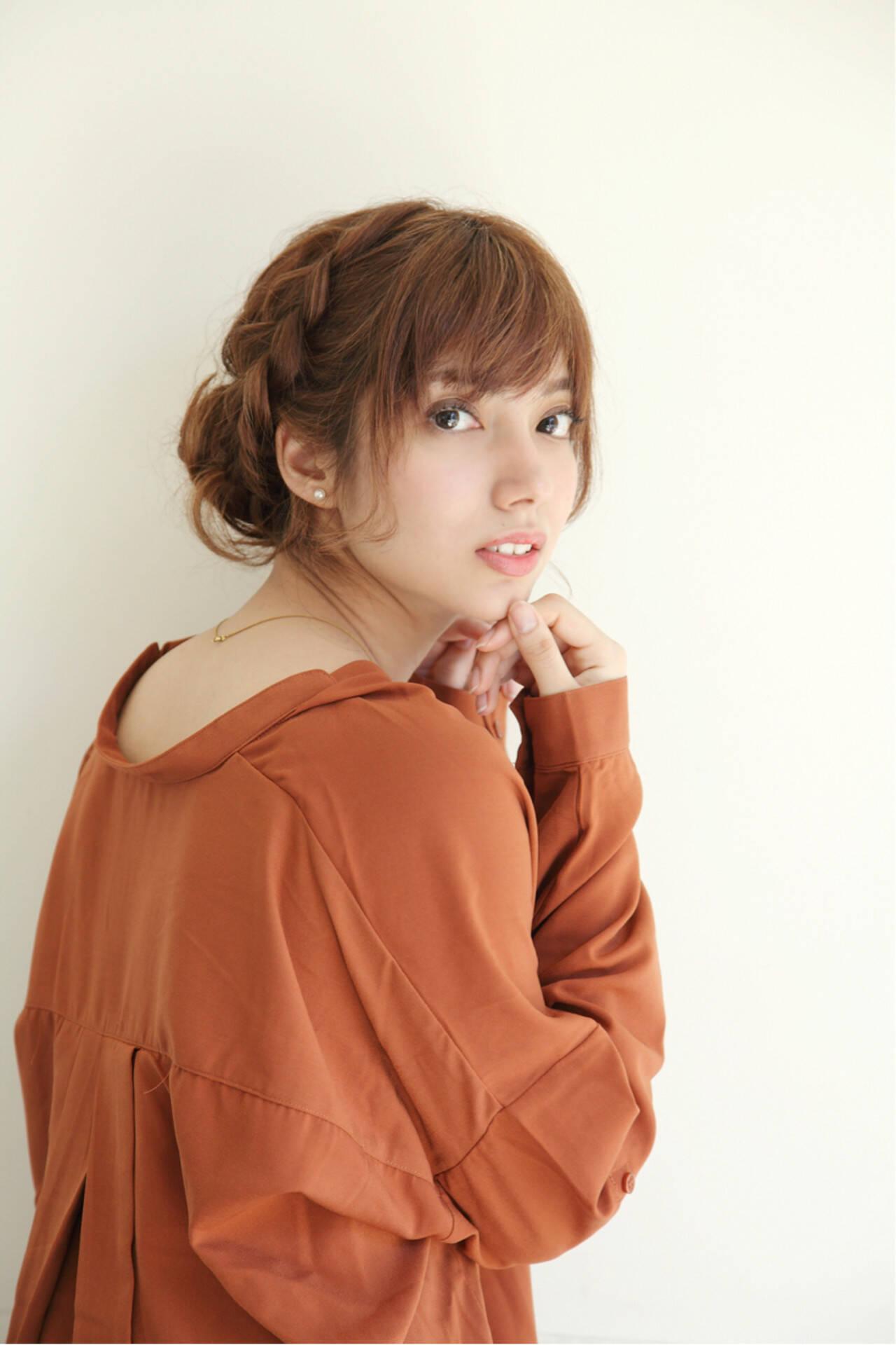 ヘアアレンジ 編み込み ショート まとめ髪ヘアスタイルや髪型の写真・画像