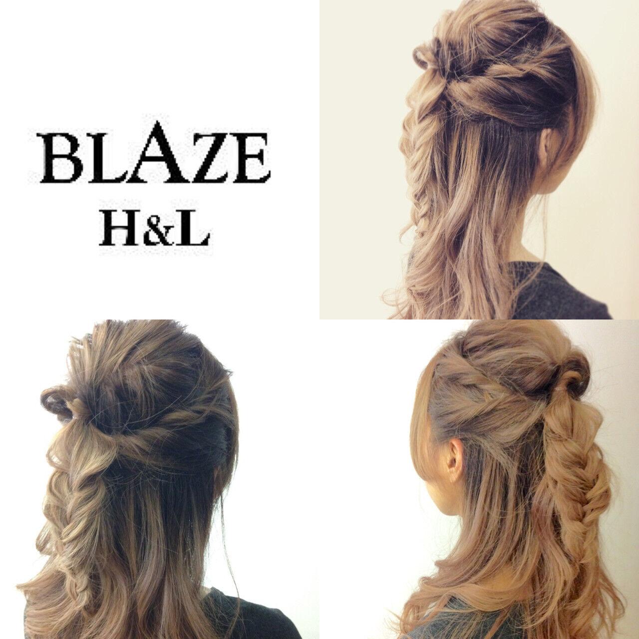 編み込み くるりんぱ ねじり ハーフアップヘアスタイルや髪型の写真・画像