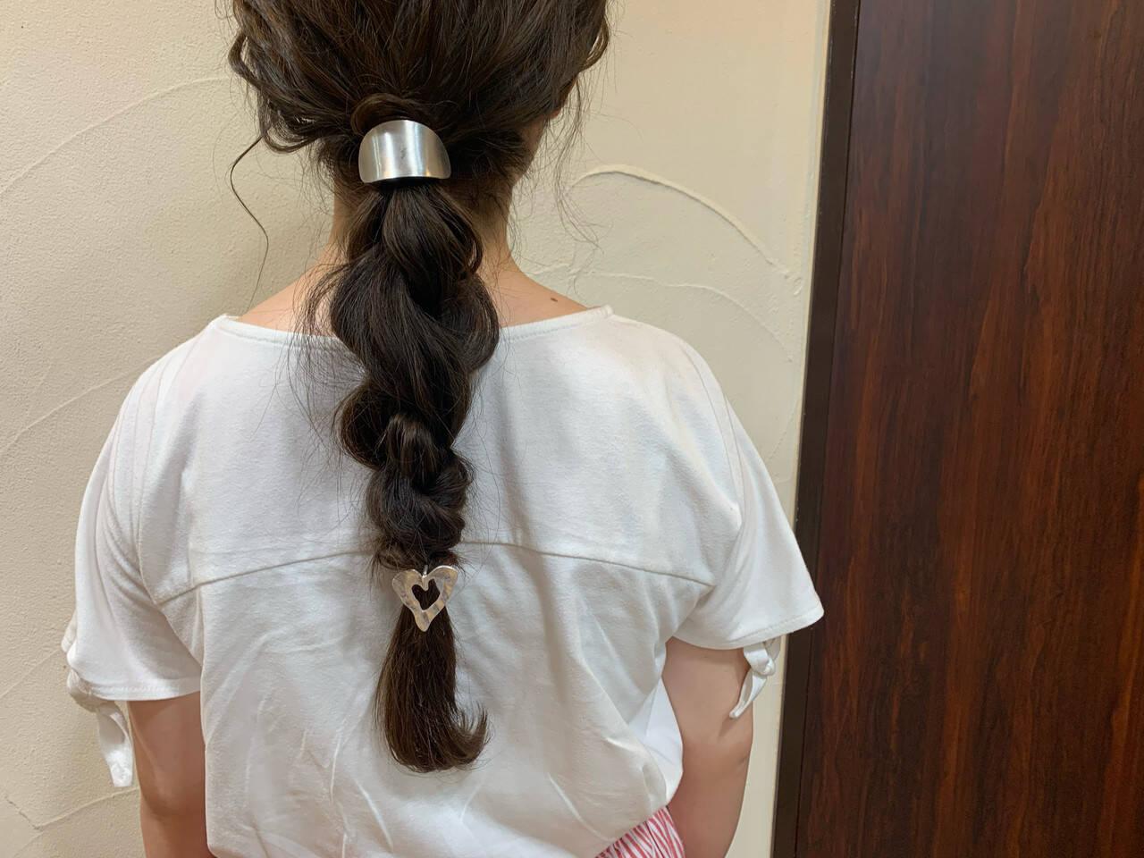 ロング ヘアアレンジ 編みおろしヘア ナチュラルヘアスタイルや髪型の写真・画像