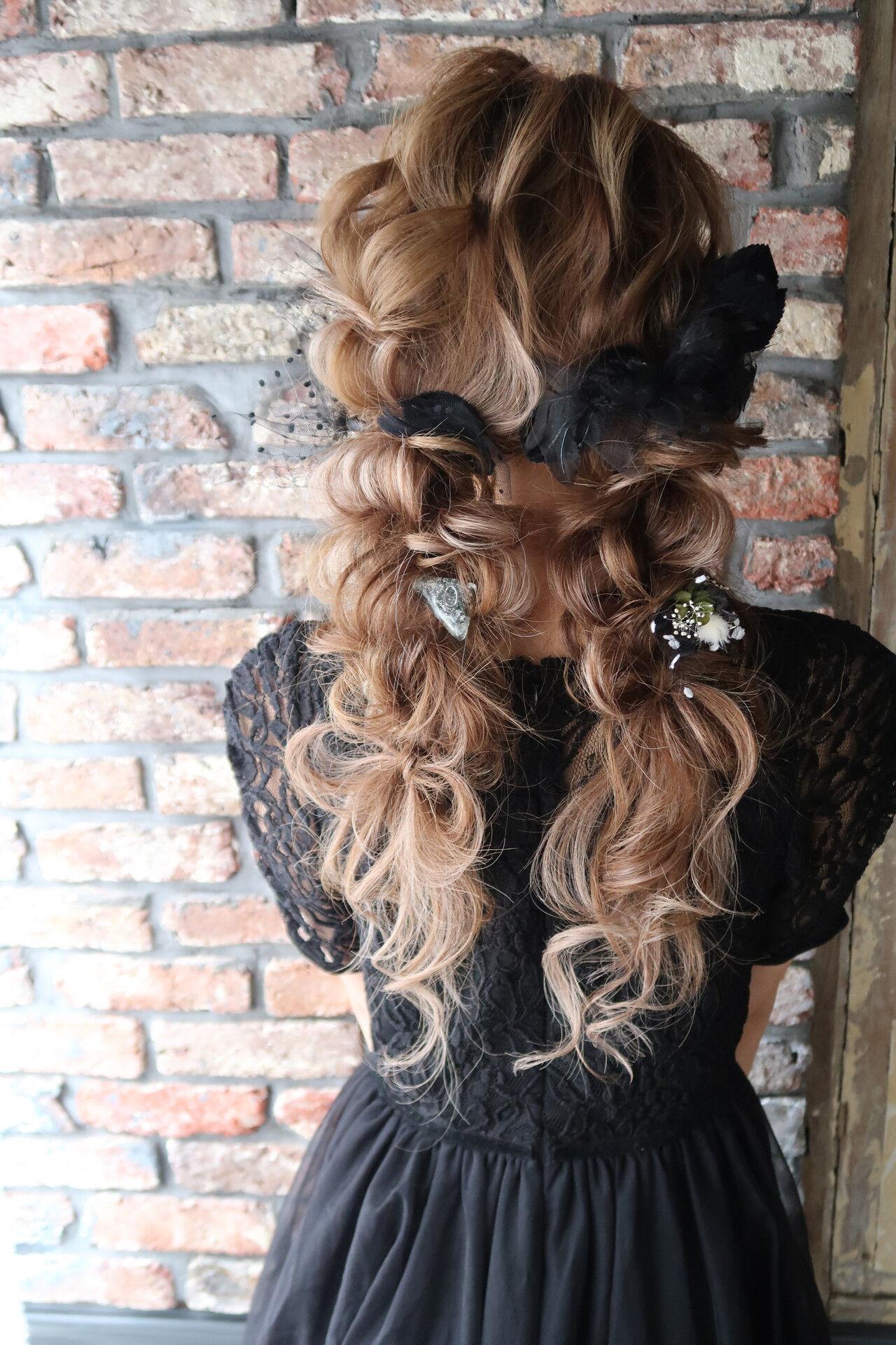 結婚式 ロング フェミニン パーティヘアスタイルや髪型の写真・画像