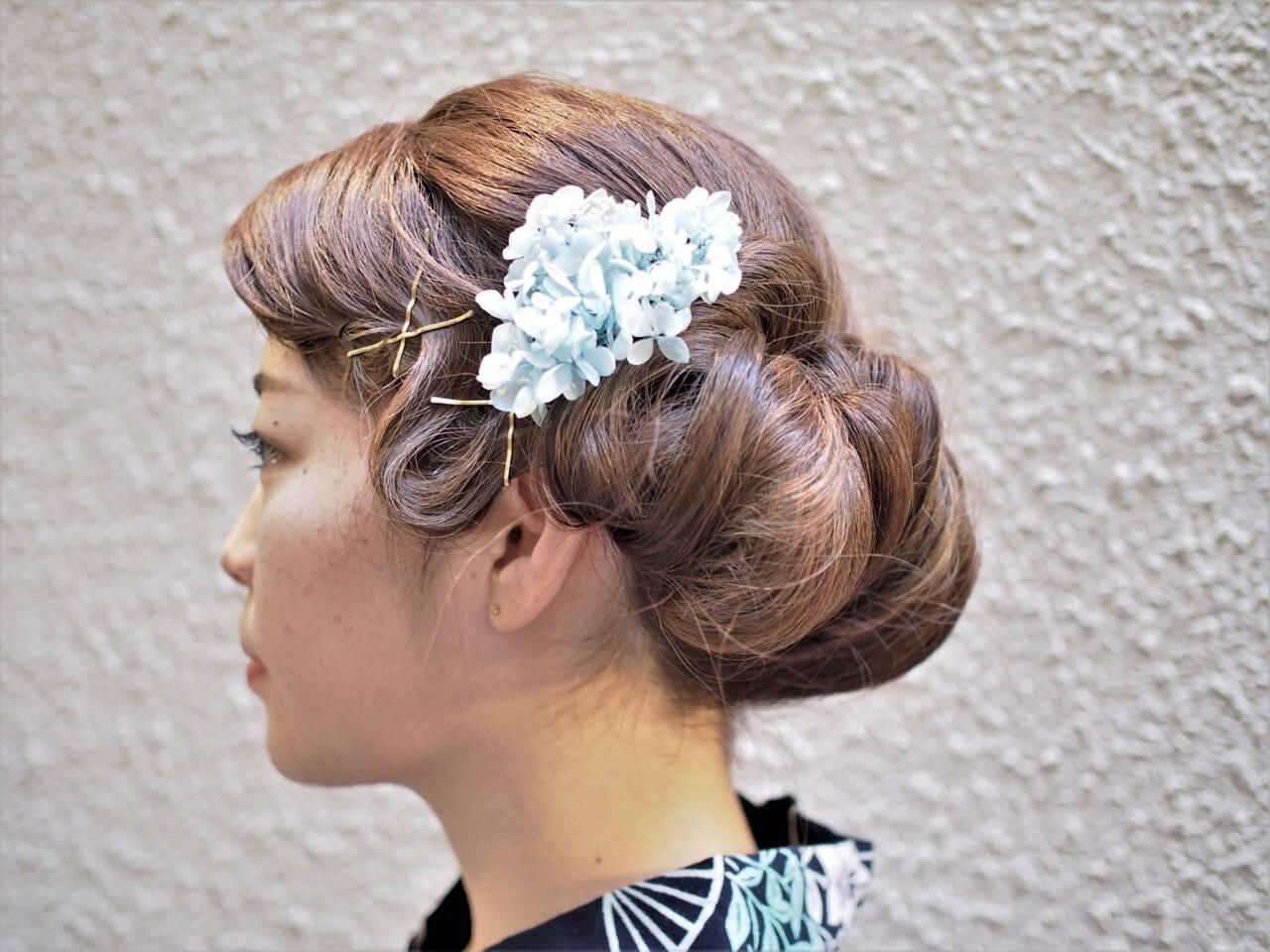 ウェーブ モード ヘアアレンジ 和装ヘアスタイルや髪型の写真・画像
