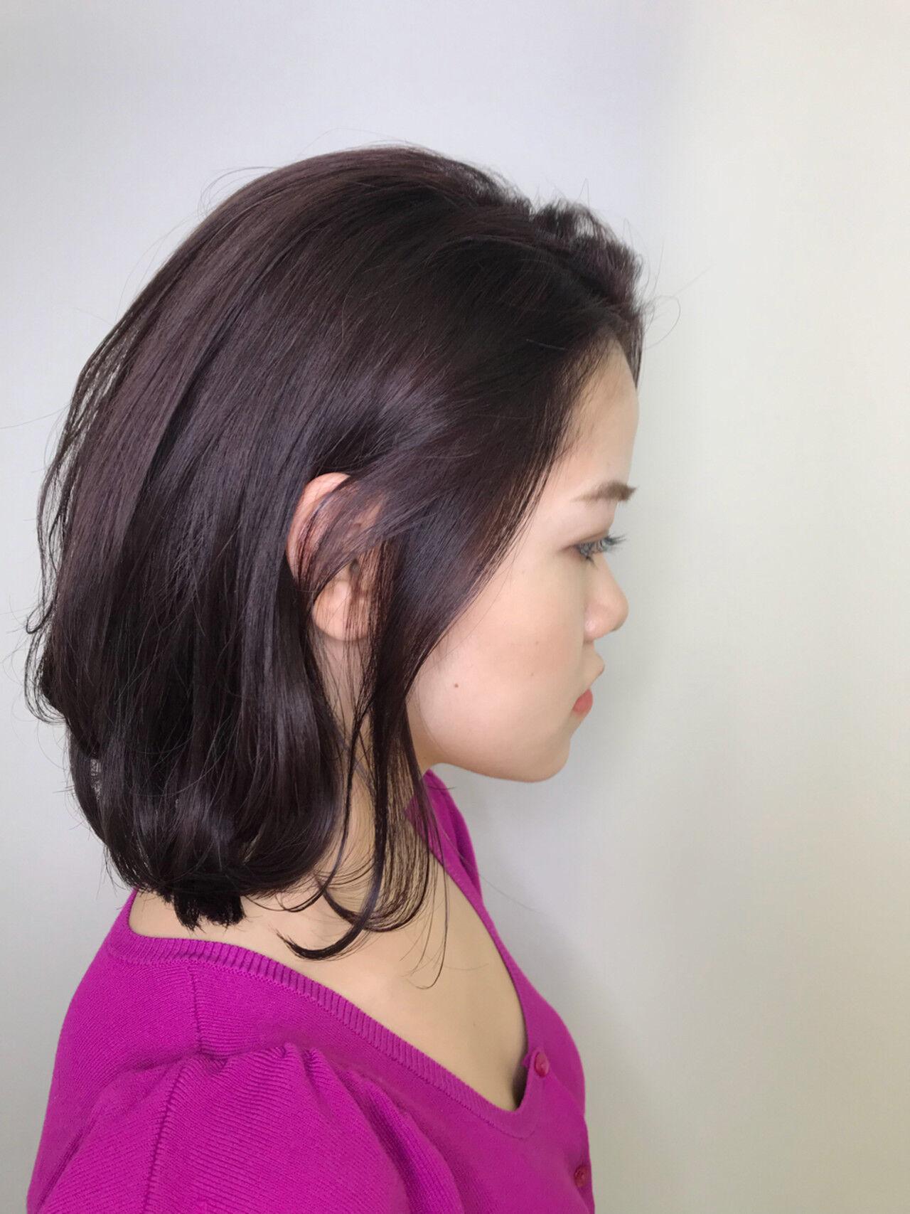 フェミニン ラベンダーピンク レッド ピンクアッシュヘアスタイルや髪型の写真・画像