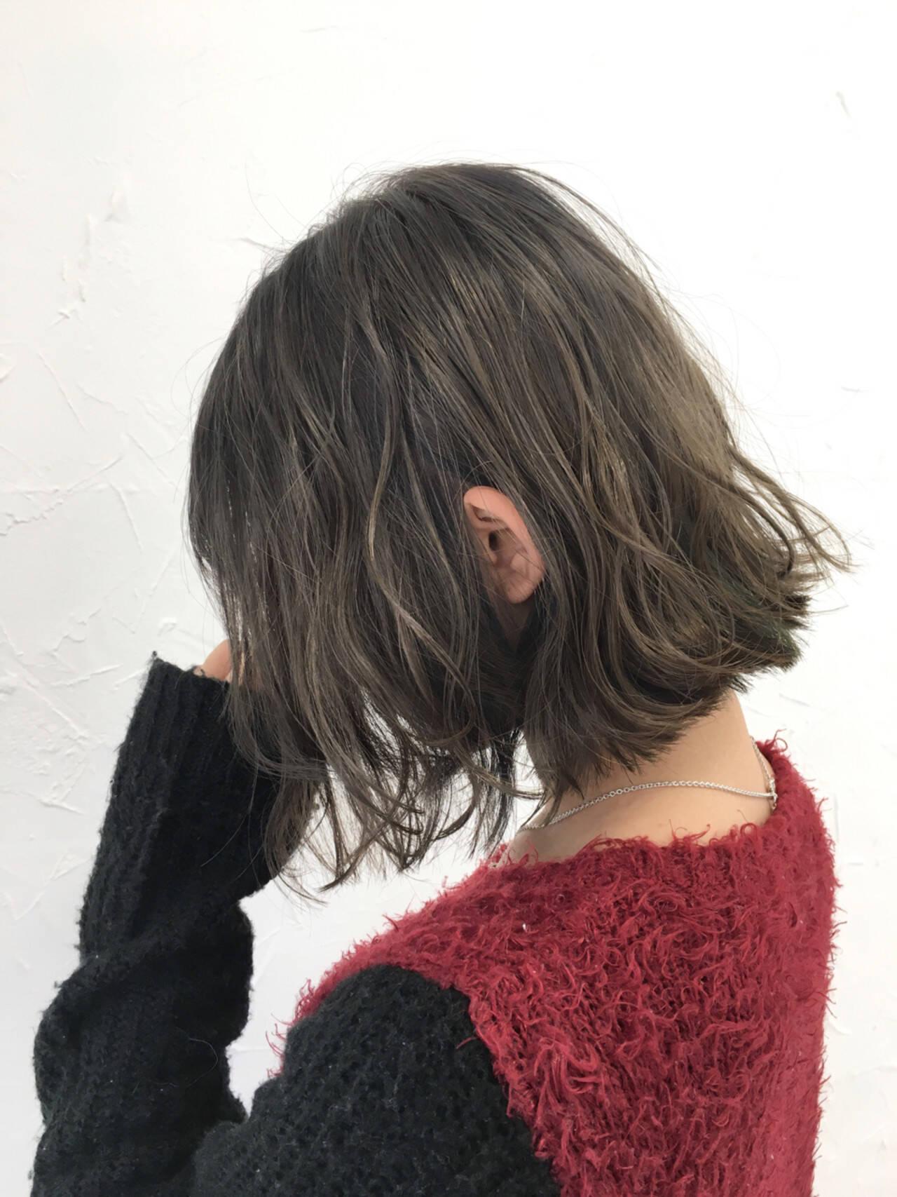 ミルクティー ナチュラル ボブ 前髪ありヘアスタイルや髪型の写真・画像
