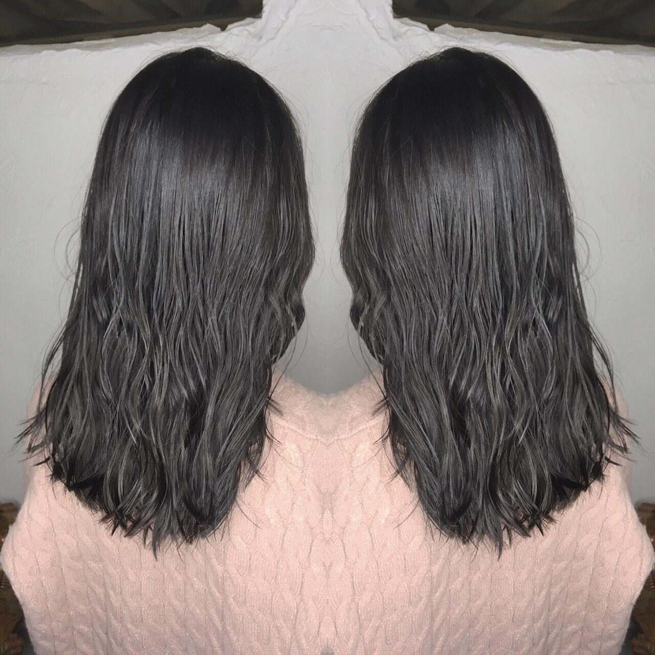 セミロング ストリート 外国人風 ヘアアレンジヘアスタイルや髪型の写真・画像