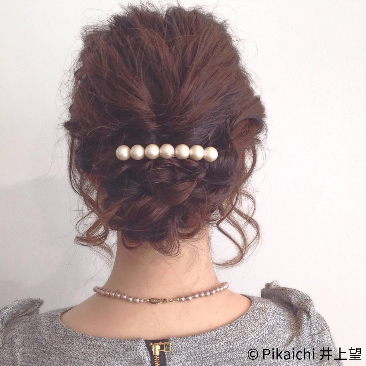 簡単ヘアアレンジ ラフ ミディアム 結婚式ヘアスタイルや髪型の写真・画像