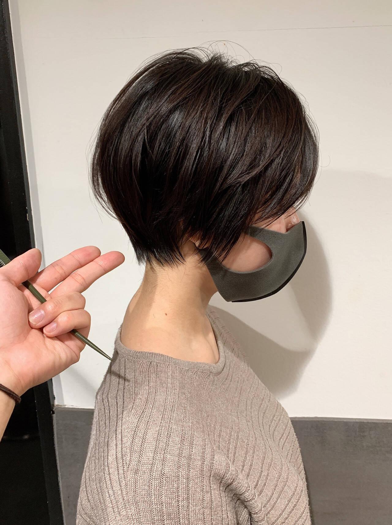 丸みショート ハンサムショート 大人ショート ショートボブヘアスタイルや髪型の写真・画像