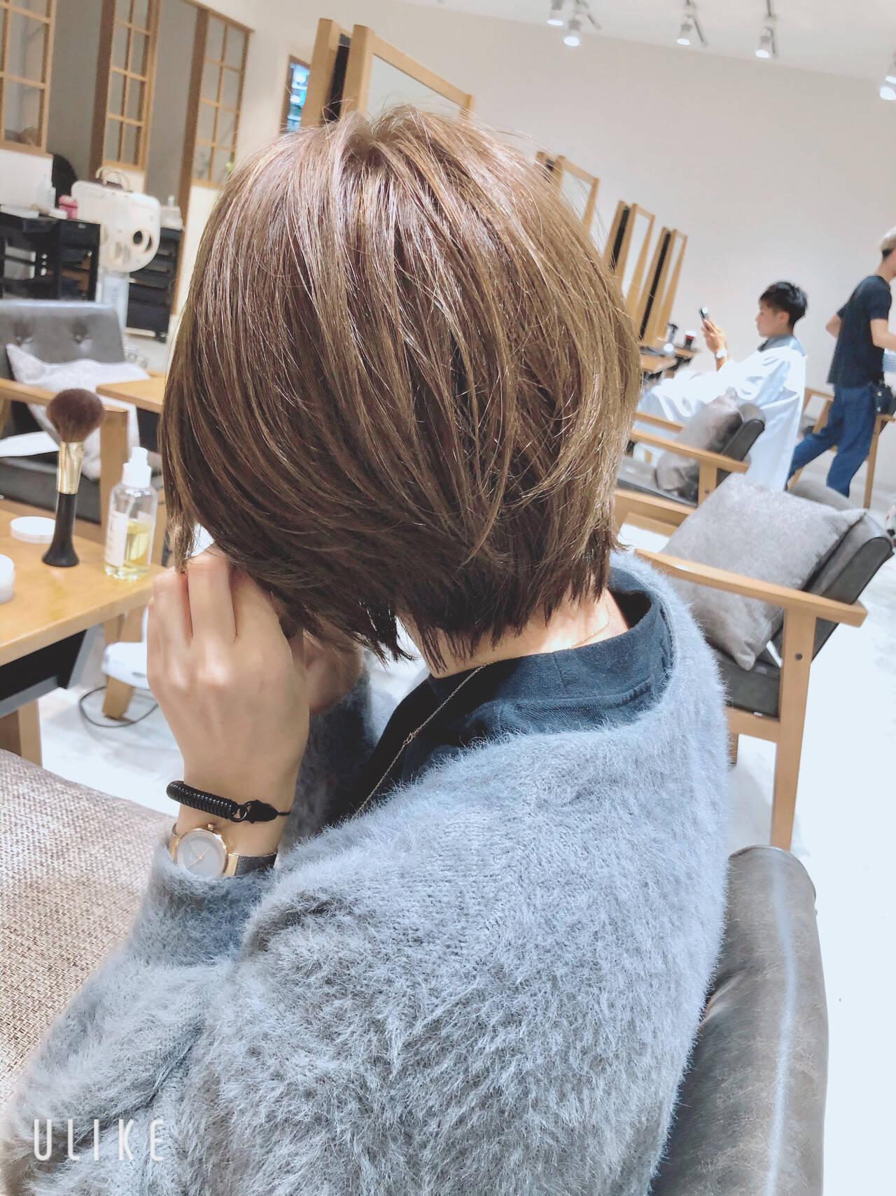 小顔ショート 前髪あり ショート ナチュラルヘアスタイルや髪型の写真・画像