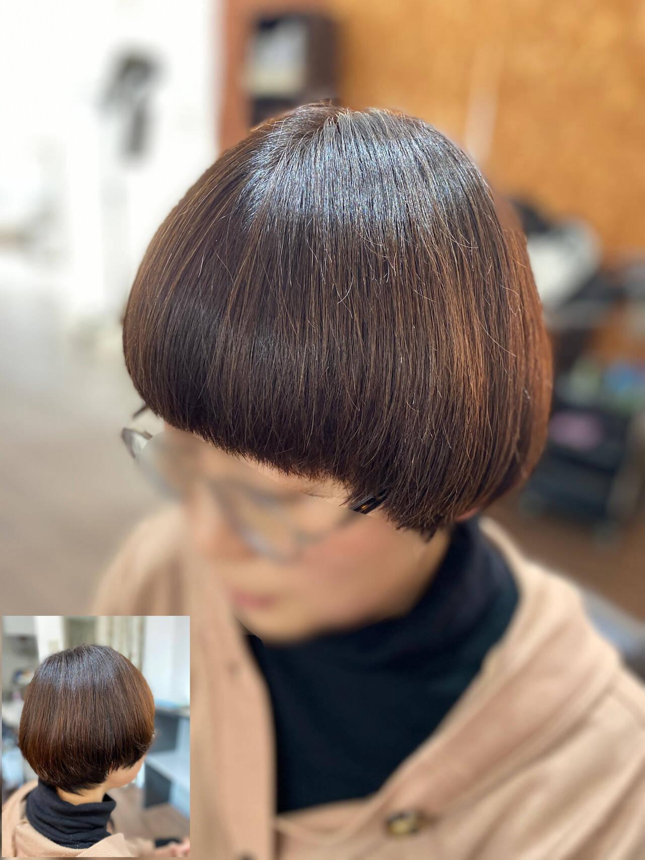 マッシュウルフ モード ショートマッシュ ボブヘアスタイルや髪型の写真・画像