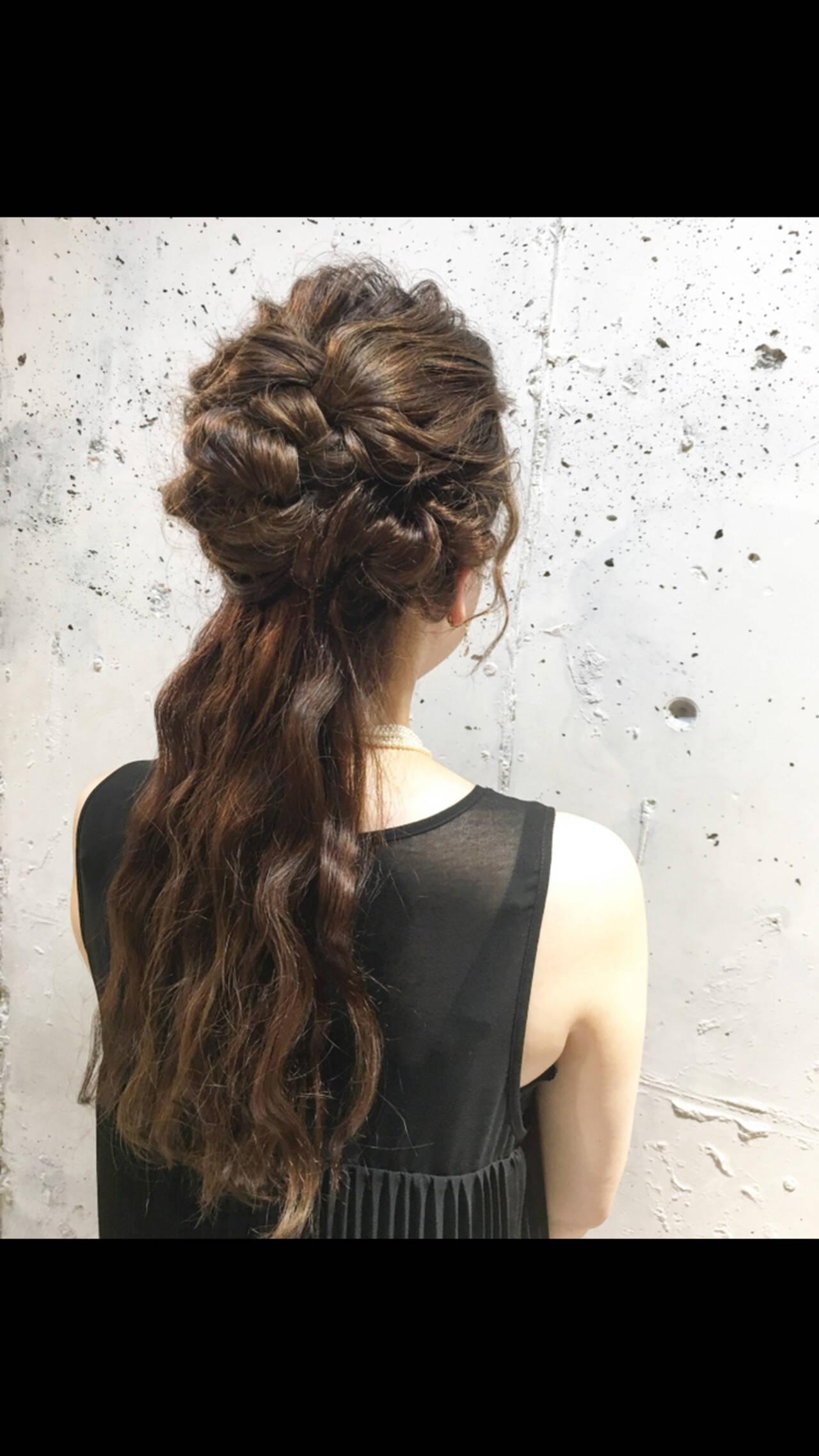 ヘアアレンジ ロング エレガント 簡単ヘアアレンジヘアスタイルや髪型の写真・画像