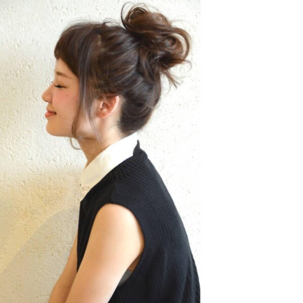 ショート ヘアアレンジ セミロング 簡単ヘアアレンジヘアスタイルや髪型の写真・画像