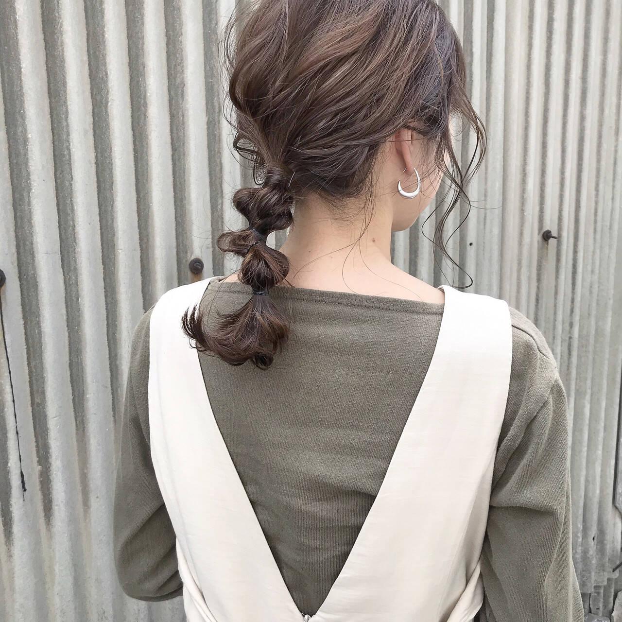 簡単ヘアアレンジ ナチュラル お呼ばれヘア カジュアルヘアスタイルや髪型の写真・画像