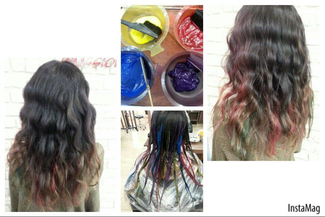 カラフルカラー ピンク オレンジ 黒髪ヘアスタイルや髪型の写真・画像