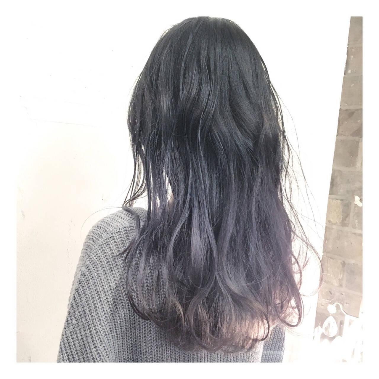 ロング 黒髪 アッシュ モードヘアスタイルや髪型の写真・画像