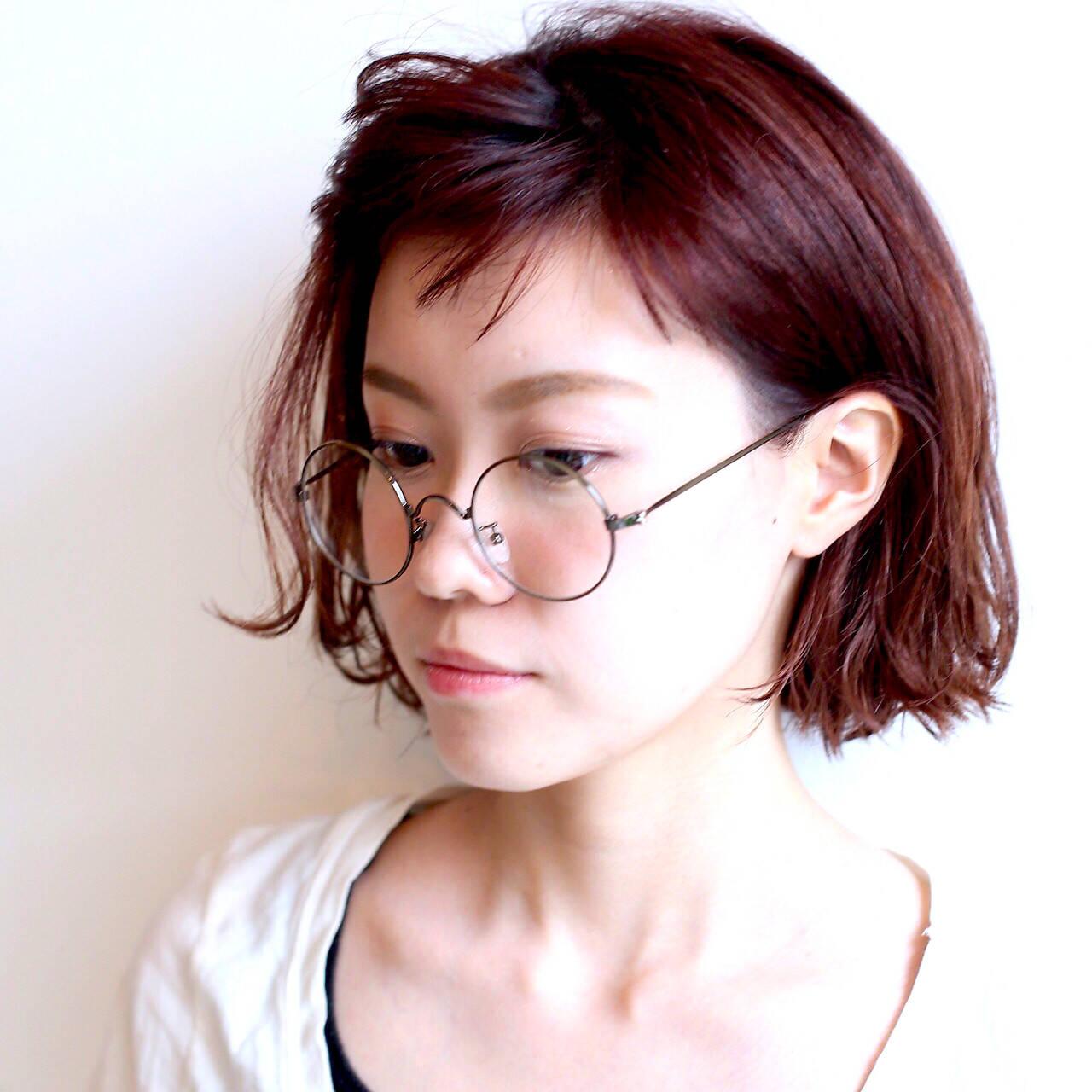 ガーリー ピンク 外ハネ レッドヘアスタイルや髪型の写真・画像