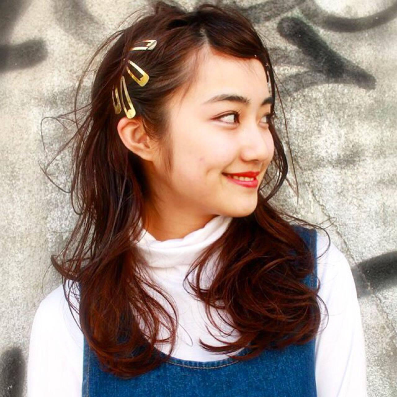 ナチュラル ガーリー ストリート ミディアムヘアスタイルや髪型の写真・画像