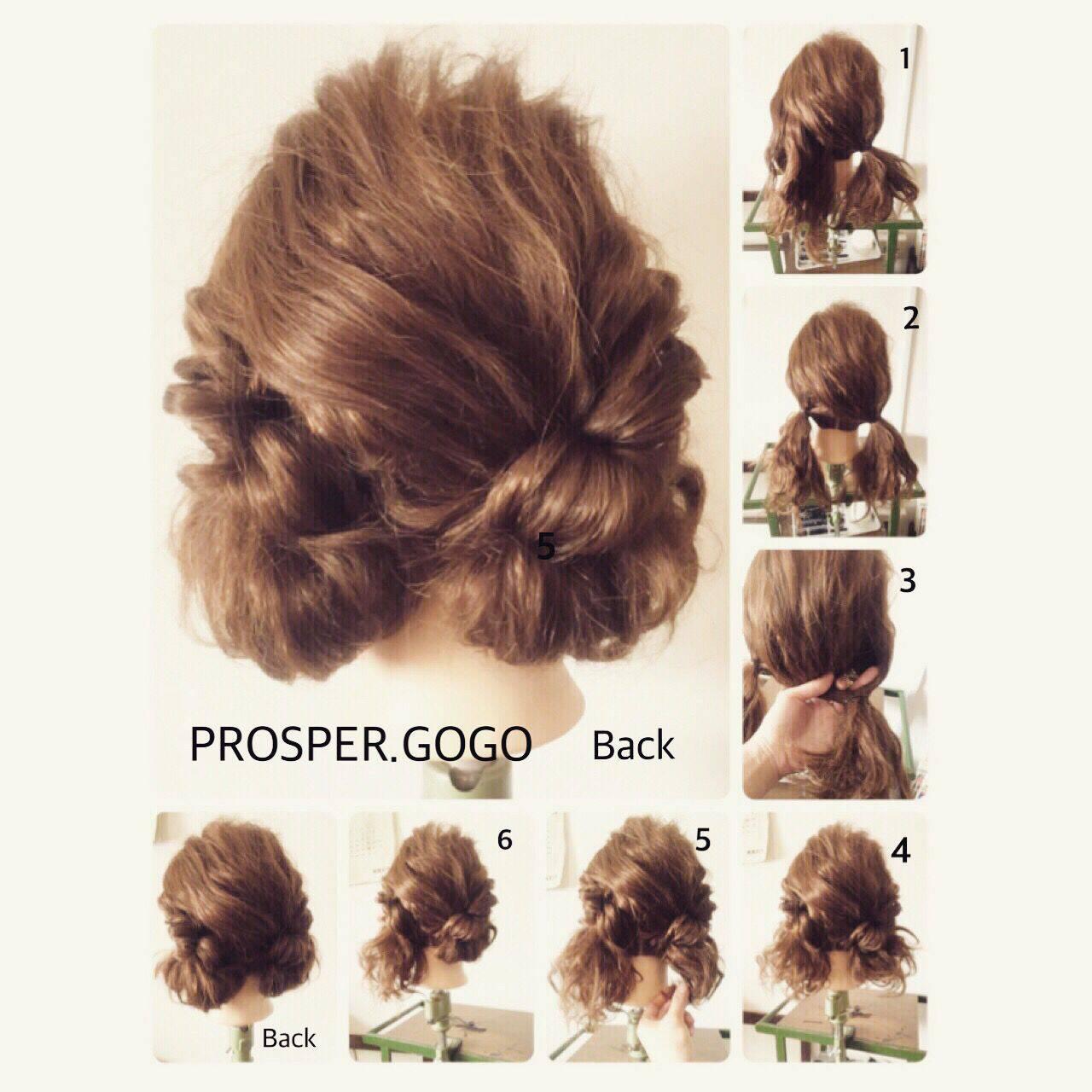 ショート セルフヘアアレンジ 簡単ヘアアレンジ 時短ヘアスタイルや髪型の写真・画像