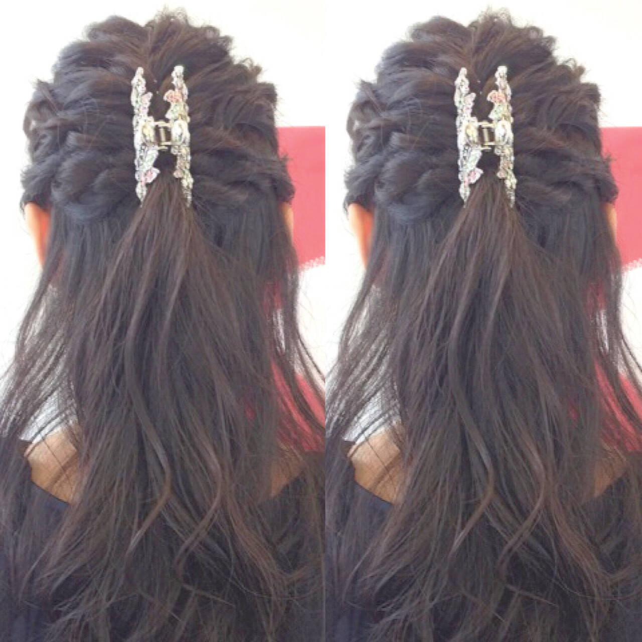 ヘアアレンジ 結婚式 ハーフアップ 二次会ヘアスタイルや髪型の写真・画像