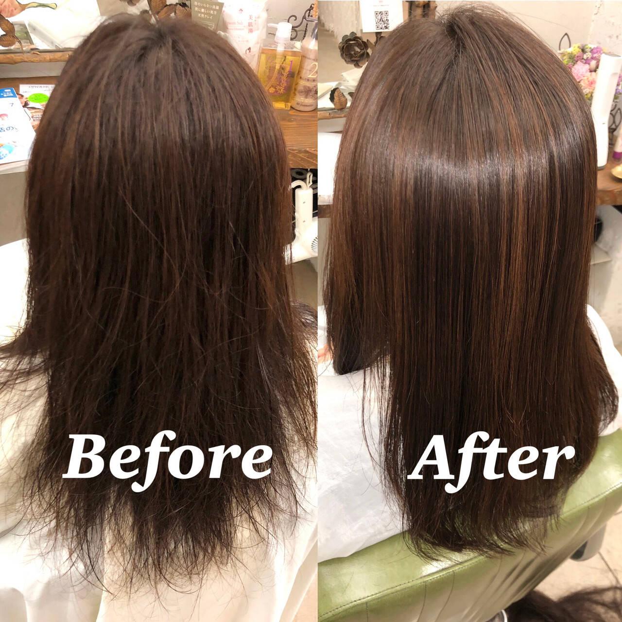 ナチュラル 髪質改善トリートメント 縮毛矯正 髪質改善ヘアスタイルや髪型の写真・画像