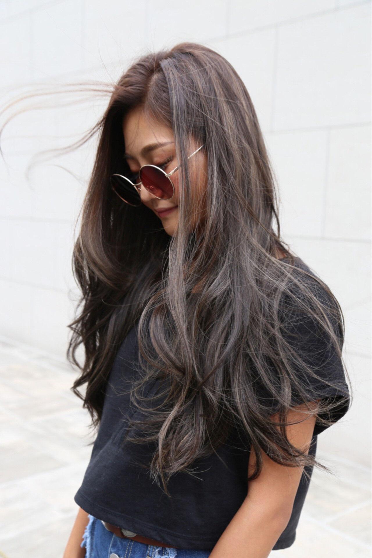 ロング パーマ アッシュ 外国人風ヘアスタイルや髪型の写真・画像