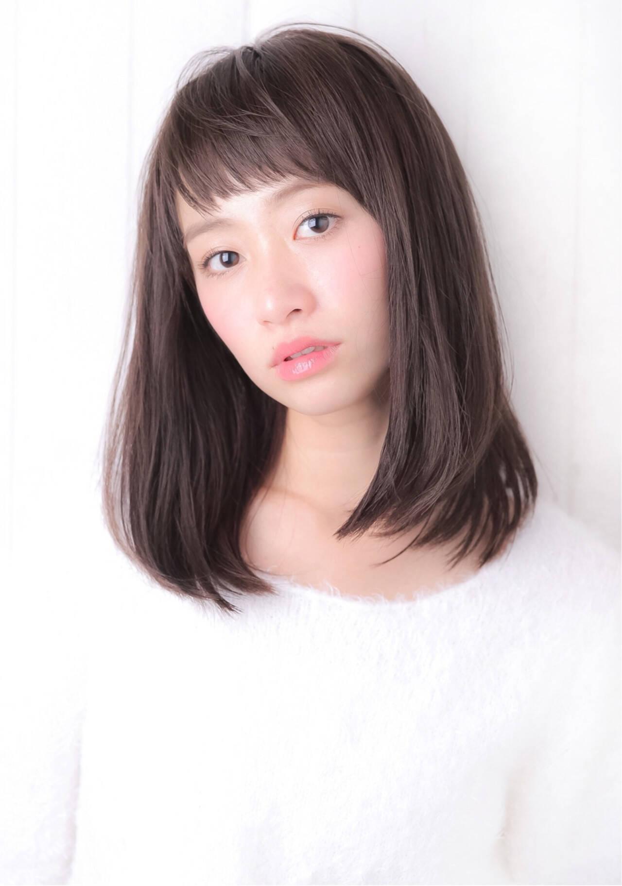 大人かわいい 艶髪 ストレート ゆるふわヘアスタイルや髪型の写真・画像