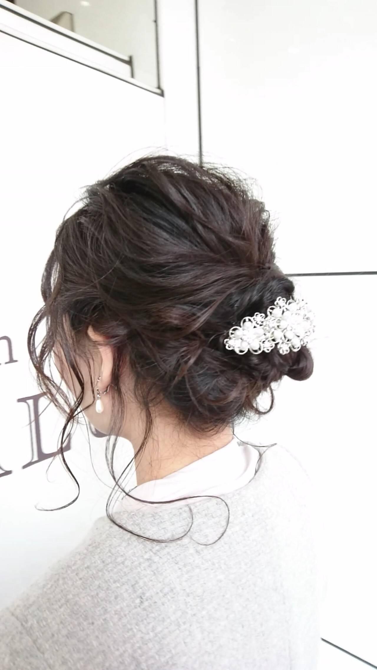 セミロング ナチュラル 結婚式 ヘアアレンジヘアスタイルや髪型の写真・画像