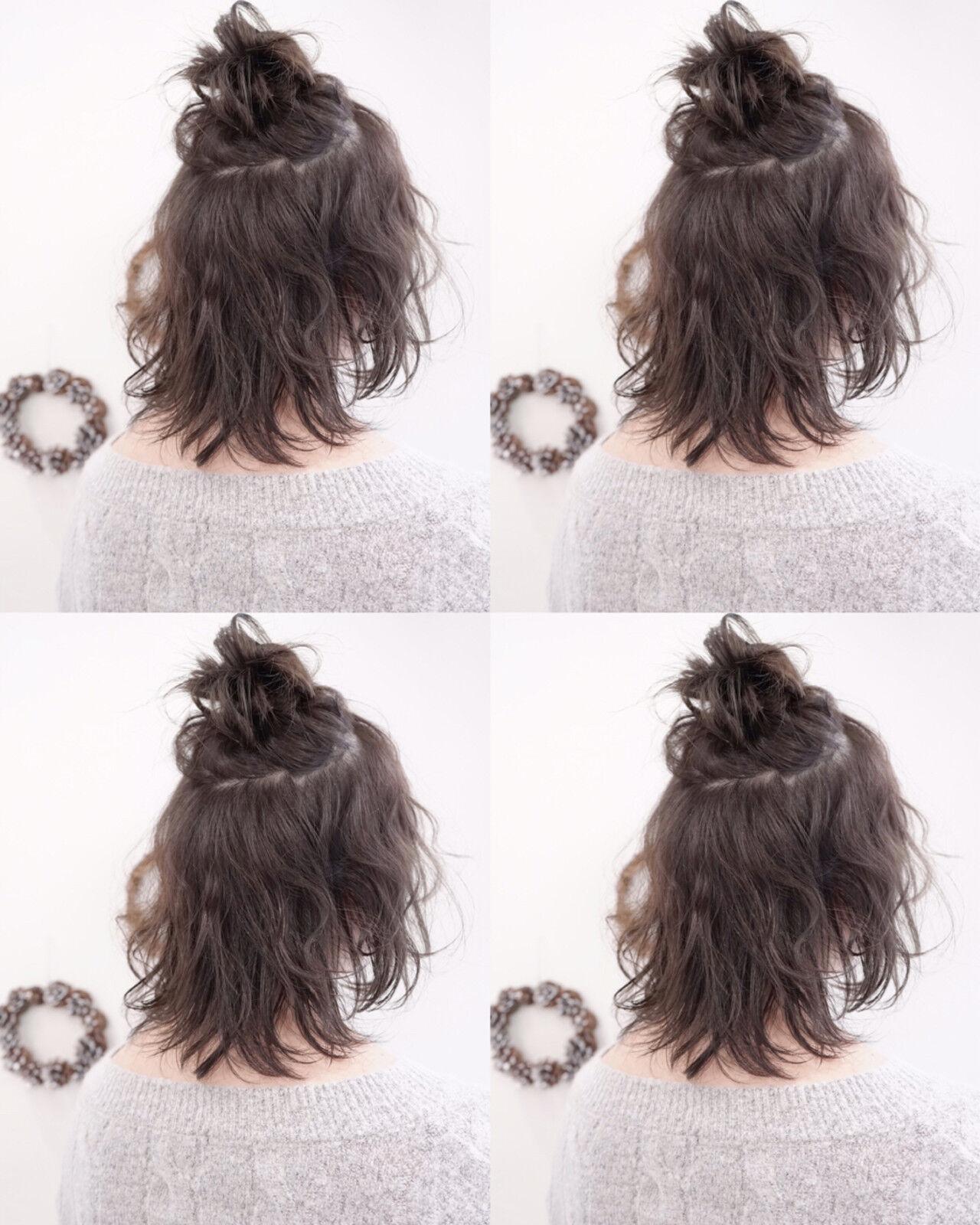 ハーフアップ ショート 暗髪 簡単ヘアアレンジヘアスタイルや髪型の写真・画像