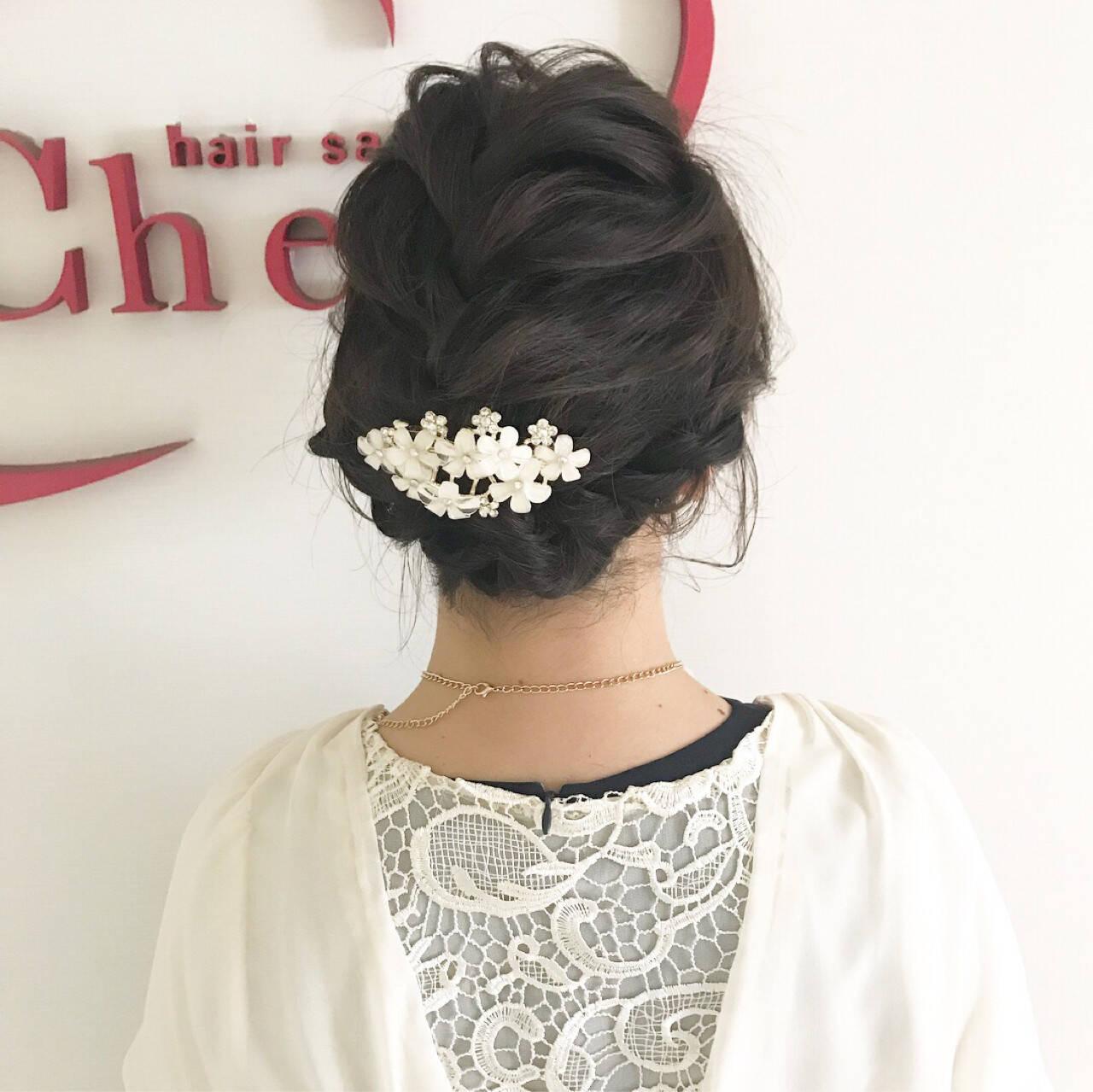 ヘアアレンジ 結婚式 編み込み 上品ヘアスタイルや髪型の写真・画像