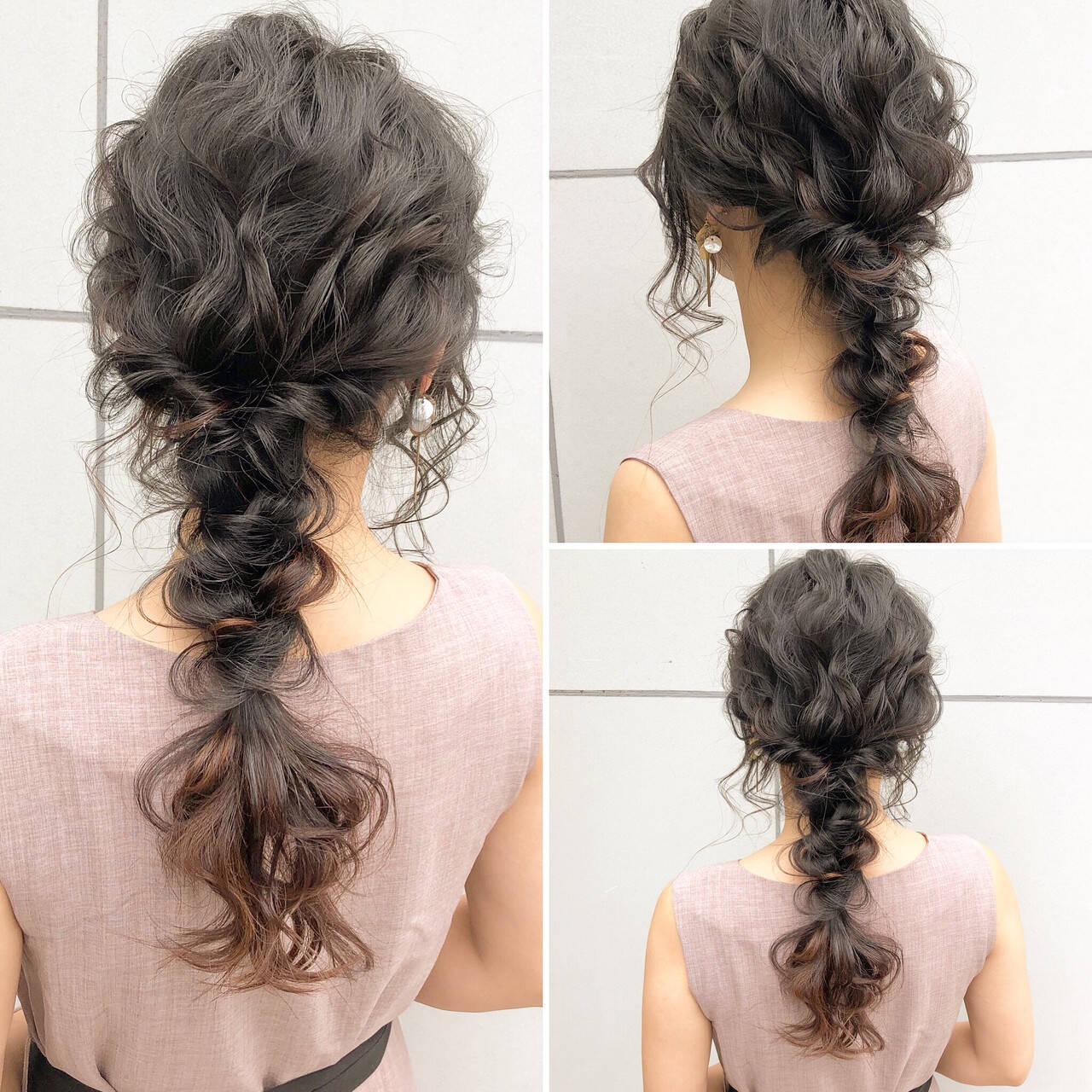 結婚式 デート 簡単ヘアアレンジ ロングヘアスタイルや髪型の写真・画像