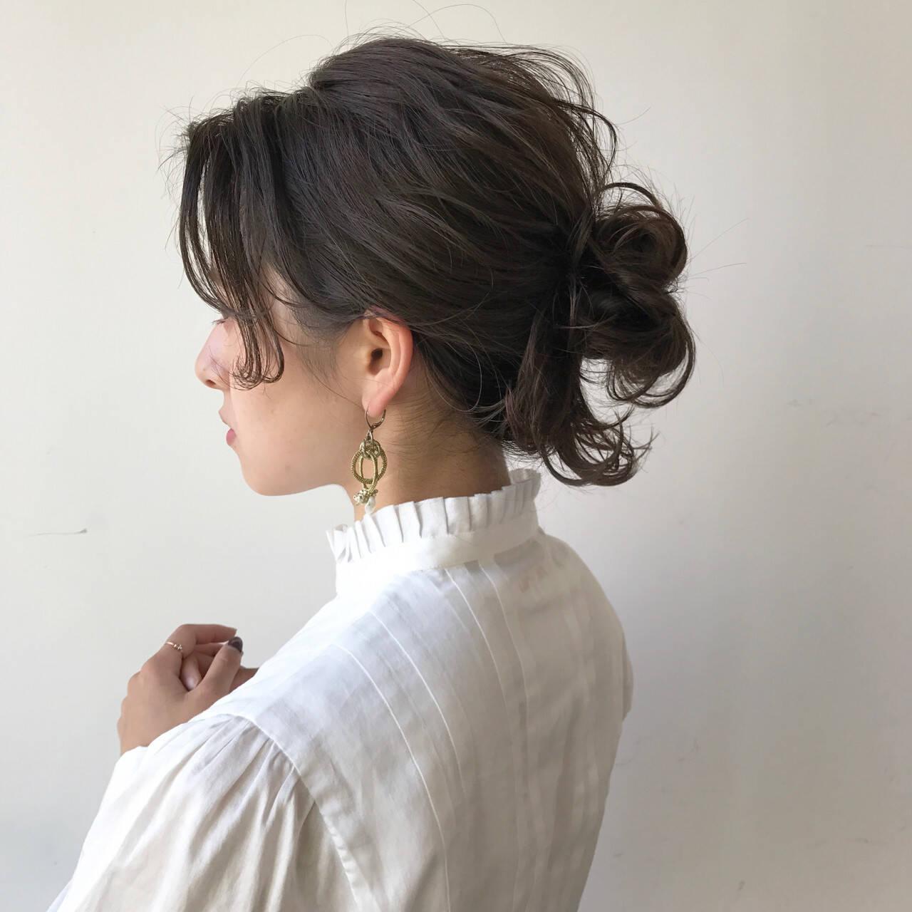 ミディアム ハーフアップ フリンジバング アッシュヘアスタイルや髪型の写真・画像