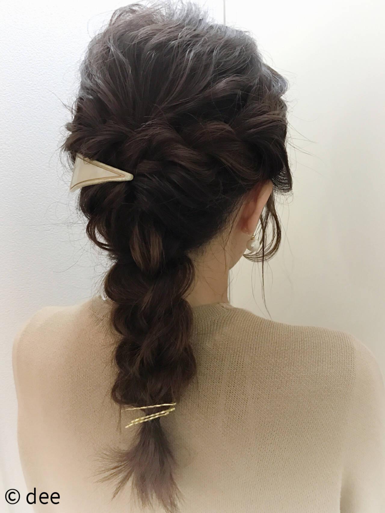 ヘアアレンジ ロープ編み ヘアピン バレッタヘアスタイルや髪型の写真・画像