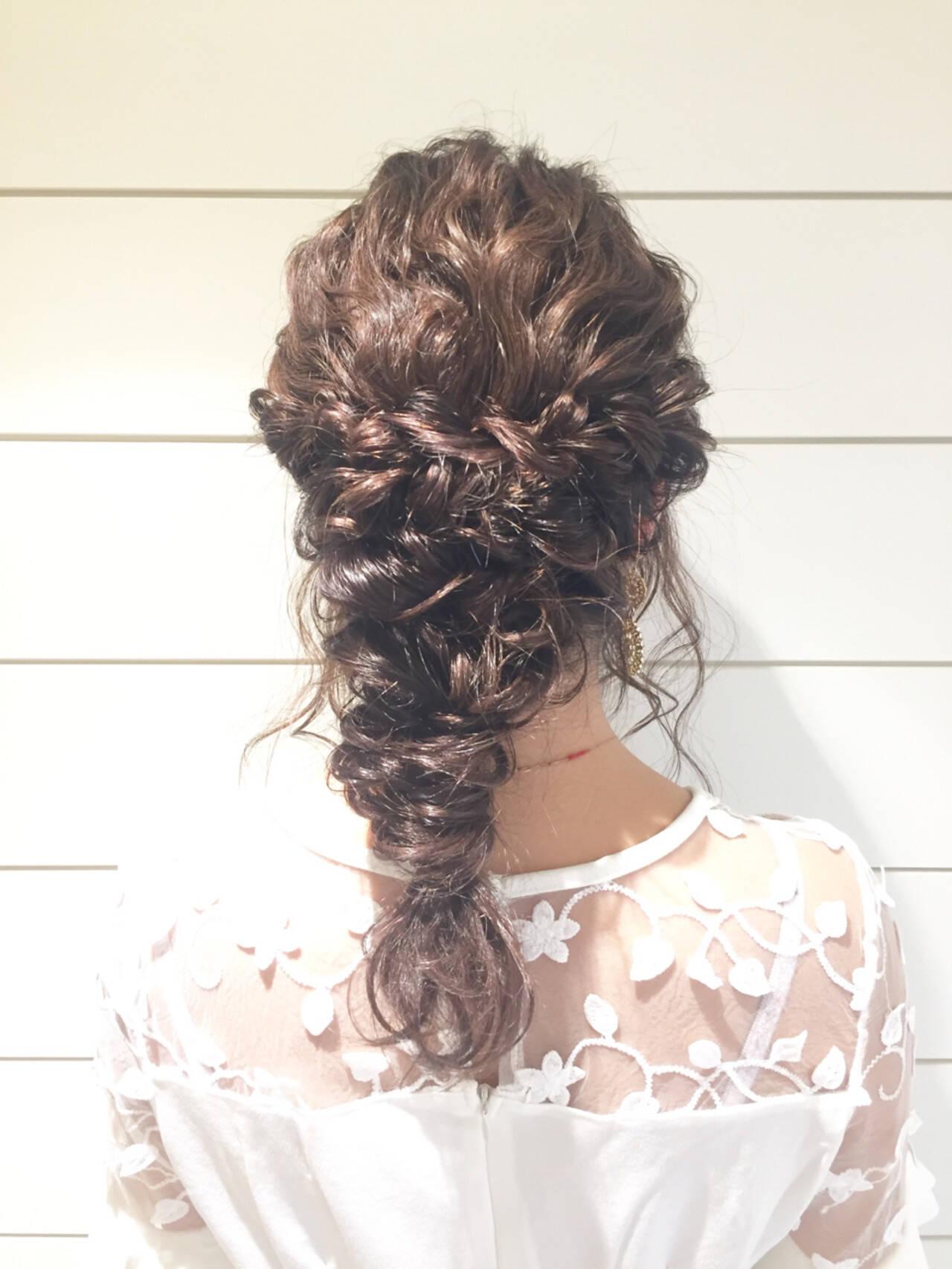 二次会 ディズニー セミロング 結婚式ヘアスタイルや髪型の写真・画像