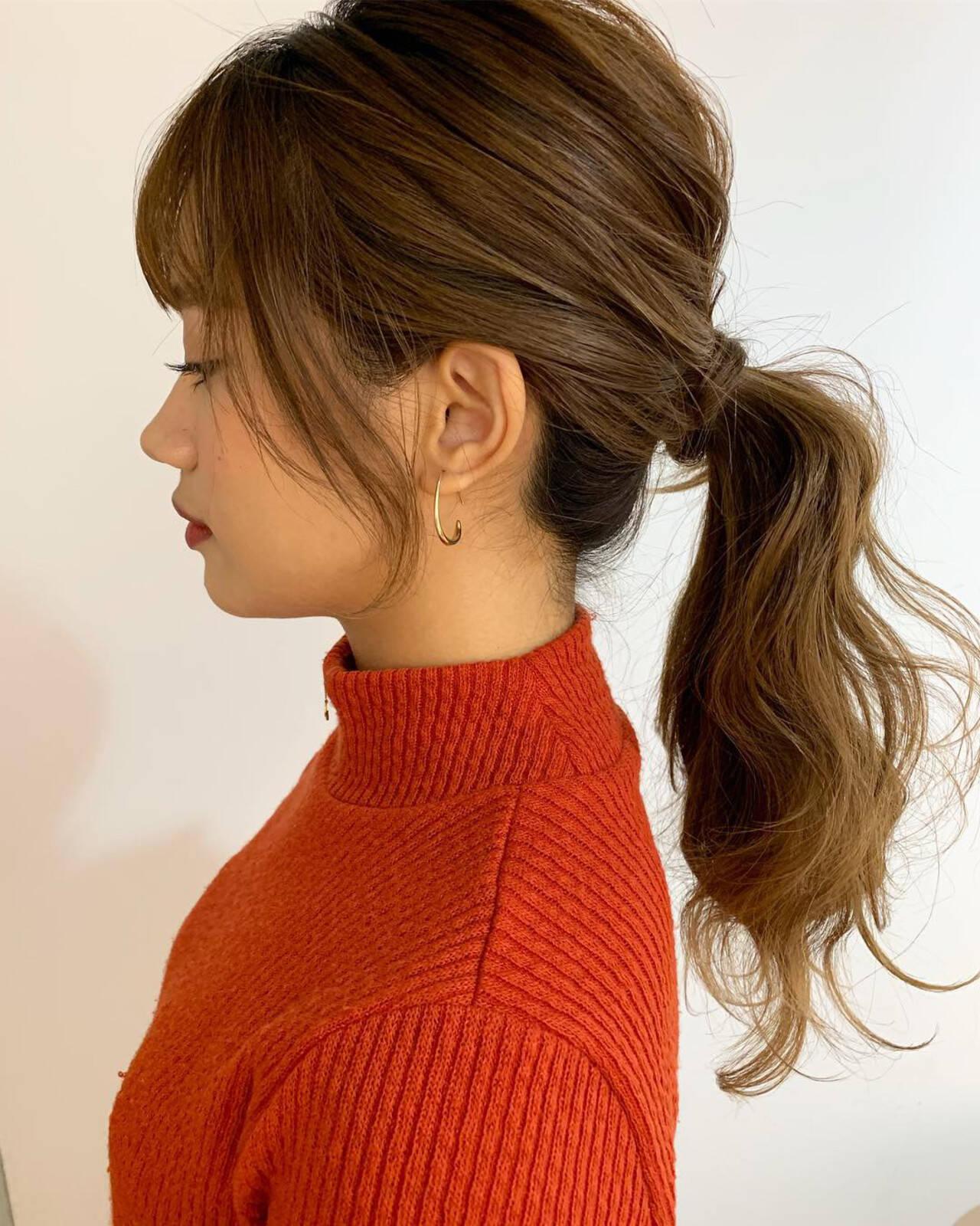 ナチュラル ヘアアレンジ 簡単ヘアアレンジ ローポニーテールヘアスタイルや髪型の写真・画像