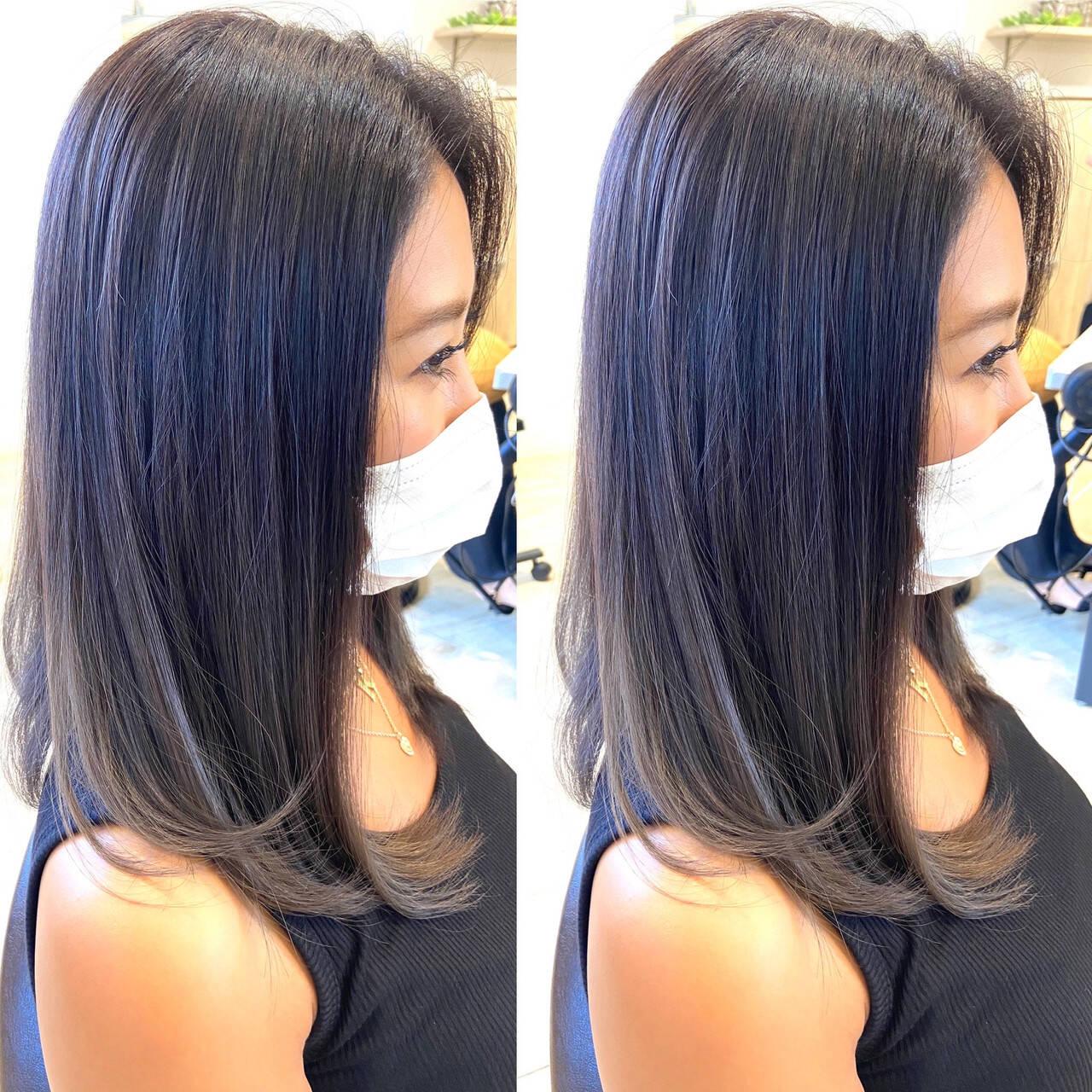 ラベンダーグレー ミディアム ラベンダーアッシュ ラベンダーヘアスタイルや髪型の写真・画像